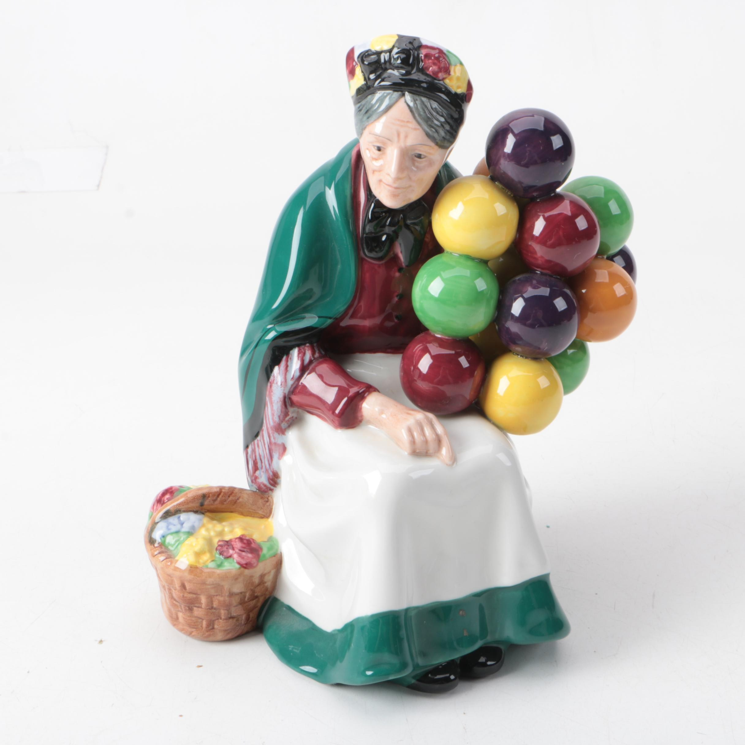 "Royal Doulton Ceramic Figurine The ""Old Balloon Seller"" Figurine"