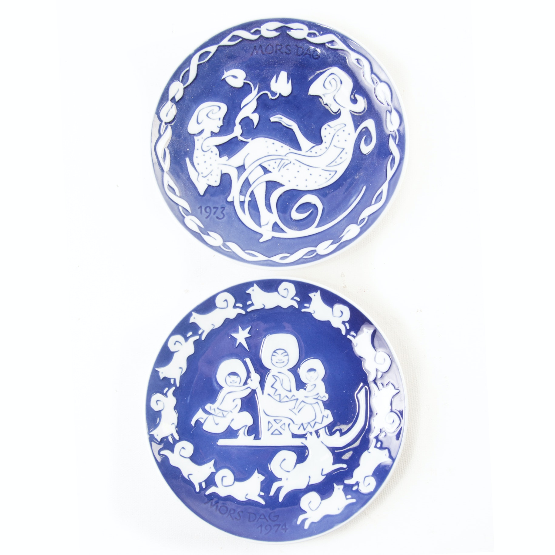 Royal Copenhagen Vintage 1973, 1974 Mother's Day Plates