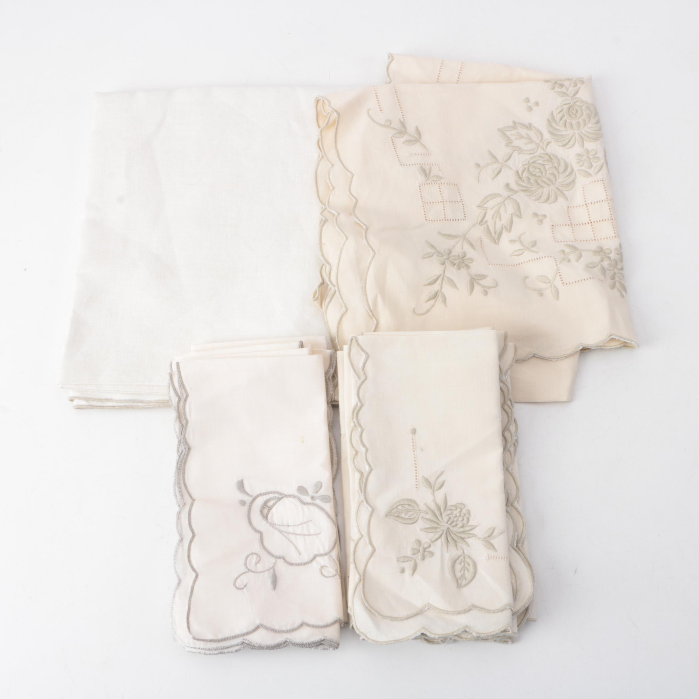 Floral Embroidered Table Linens