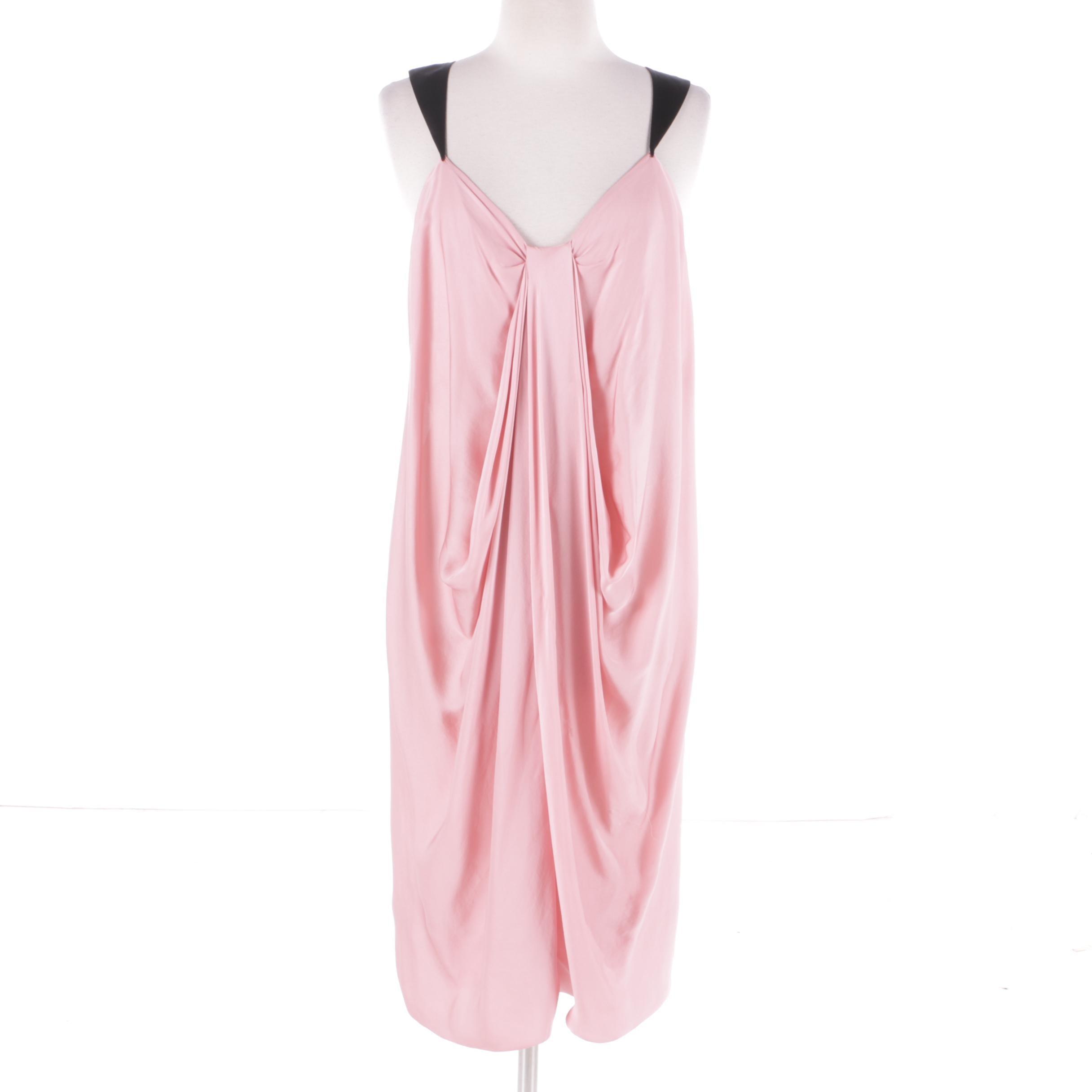 Donna Karan Collection Pink and Black Silk Draped Sleeveless Dress