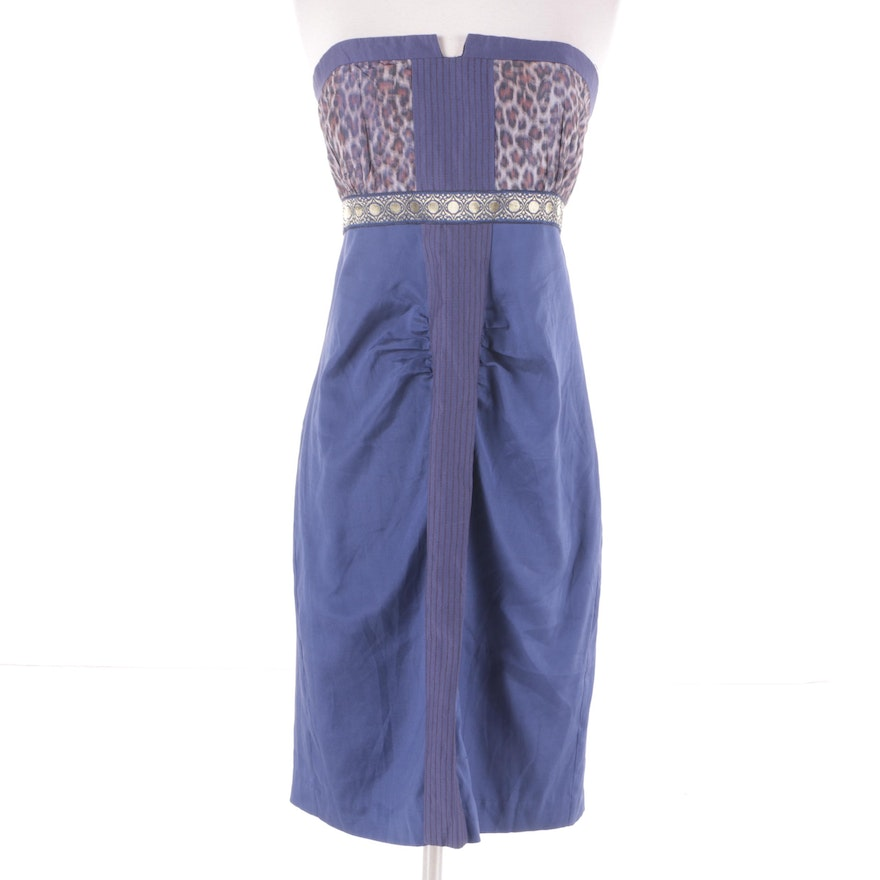 Nicole Miller Collection Blue and Leopard Print Silk Strapless ...