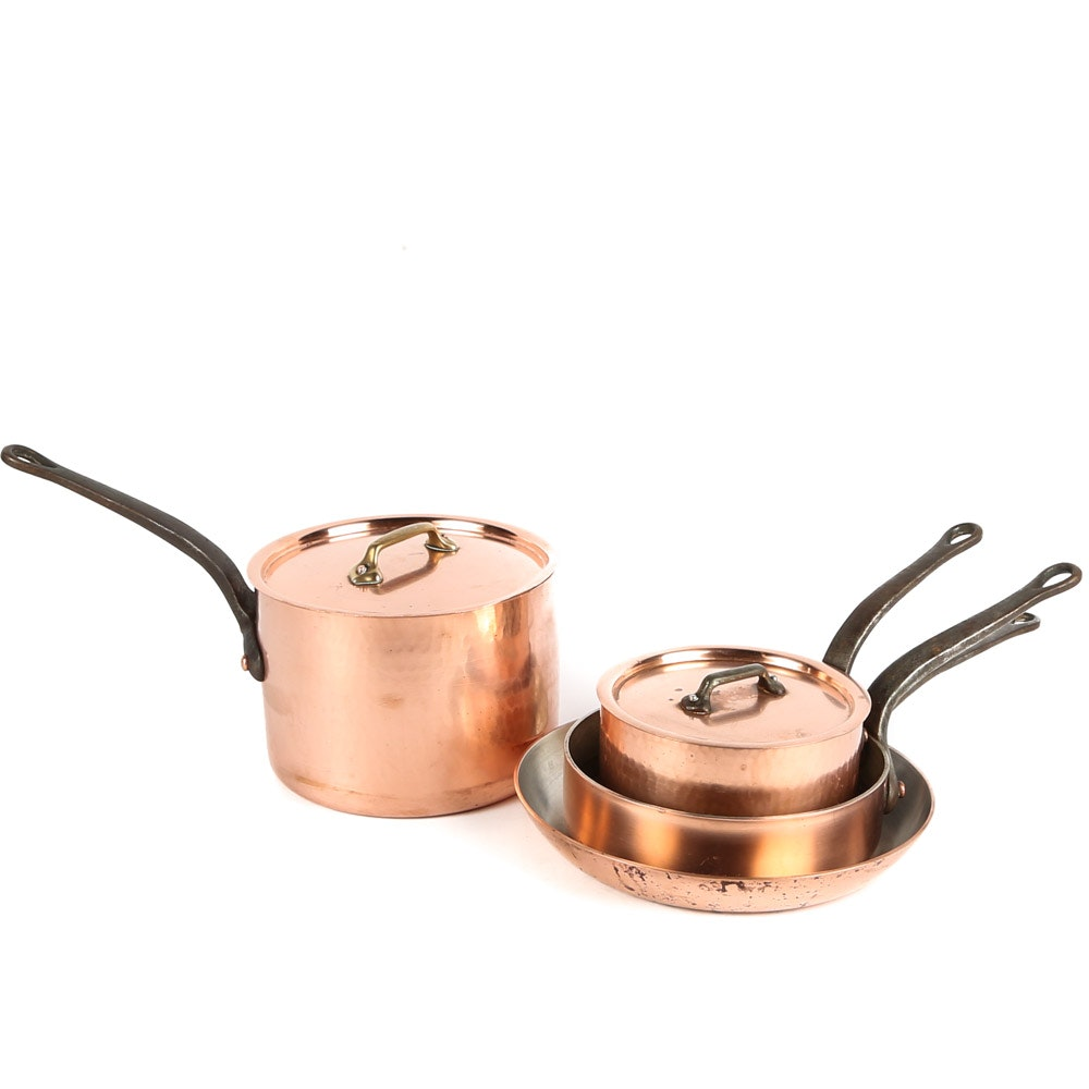 French Copper Cookware Including Kitchen Kapers