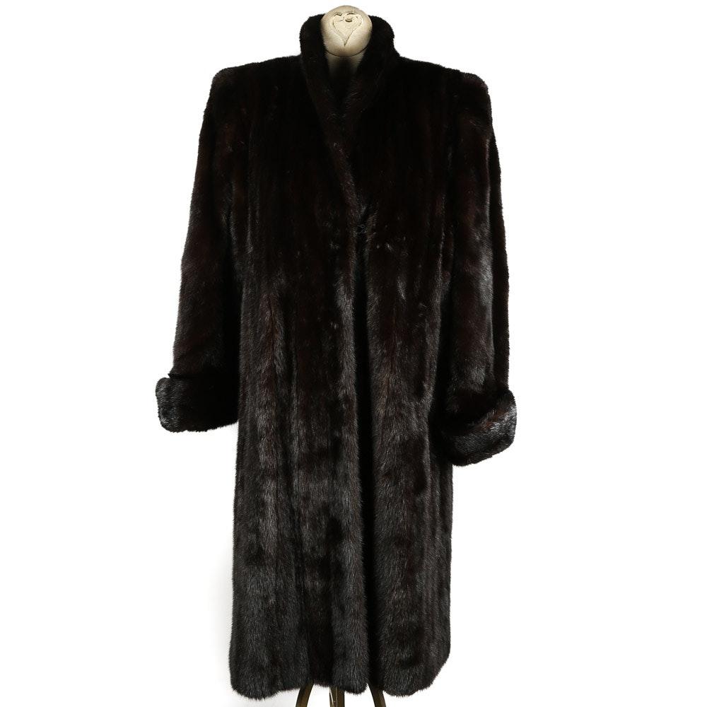 Vintage Full-Length Dark Brown Mink Fur Coat