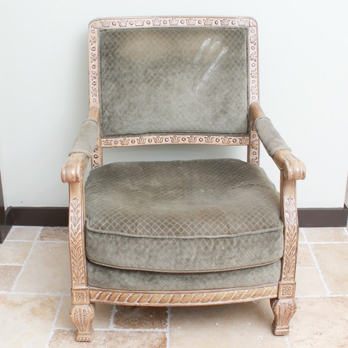 Carved and Upholstered Armchair