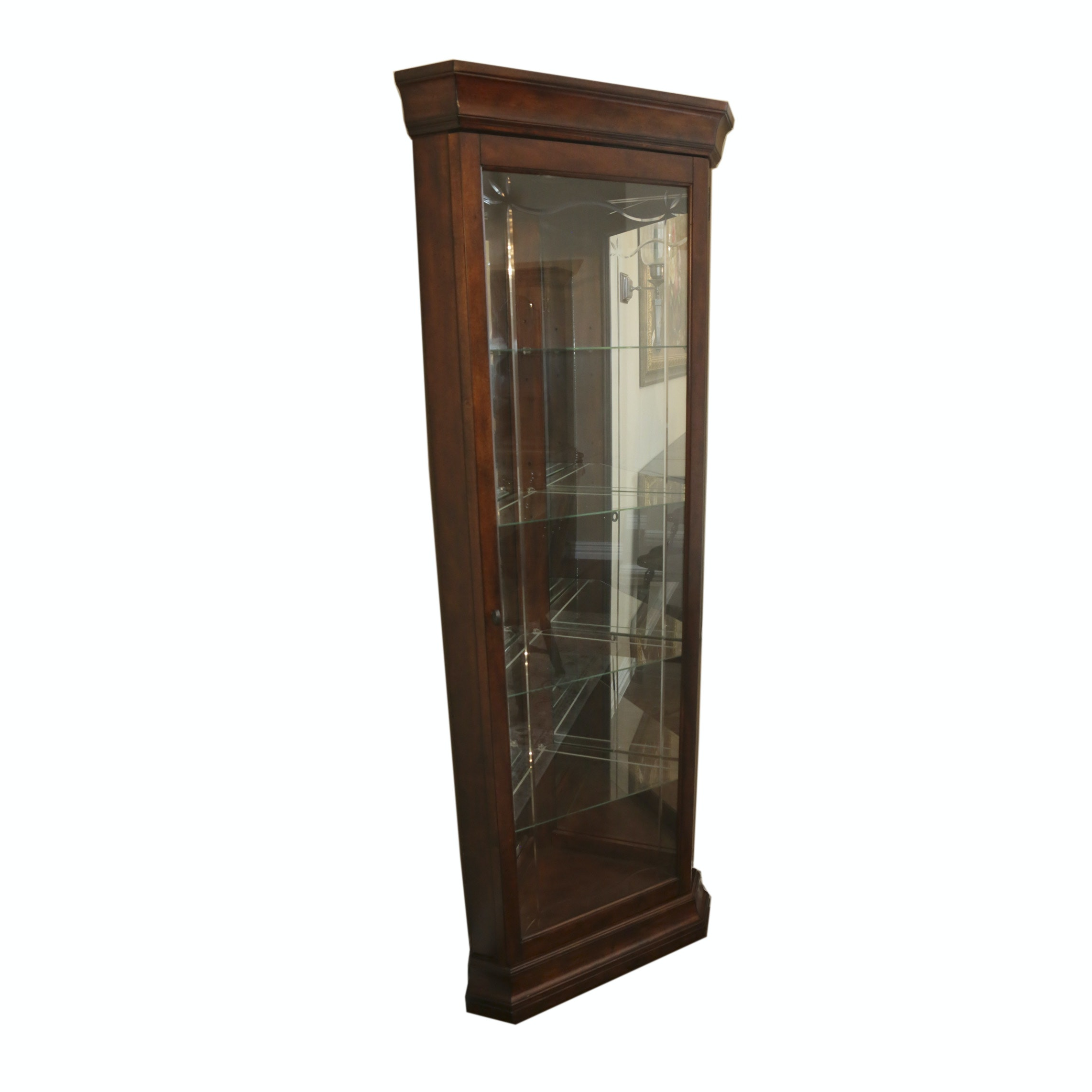 Vintage Mahogany Stained Corner Curio Cabinet