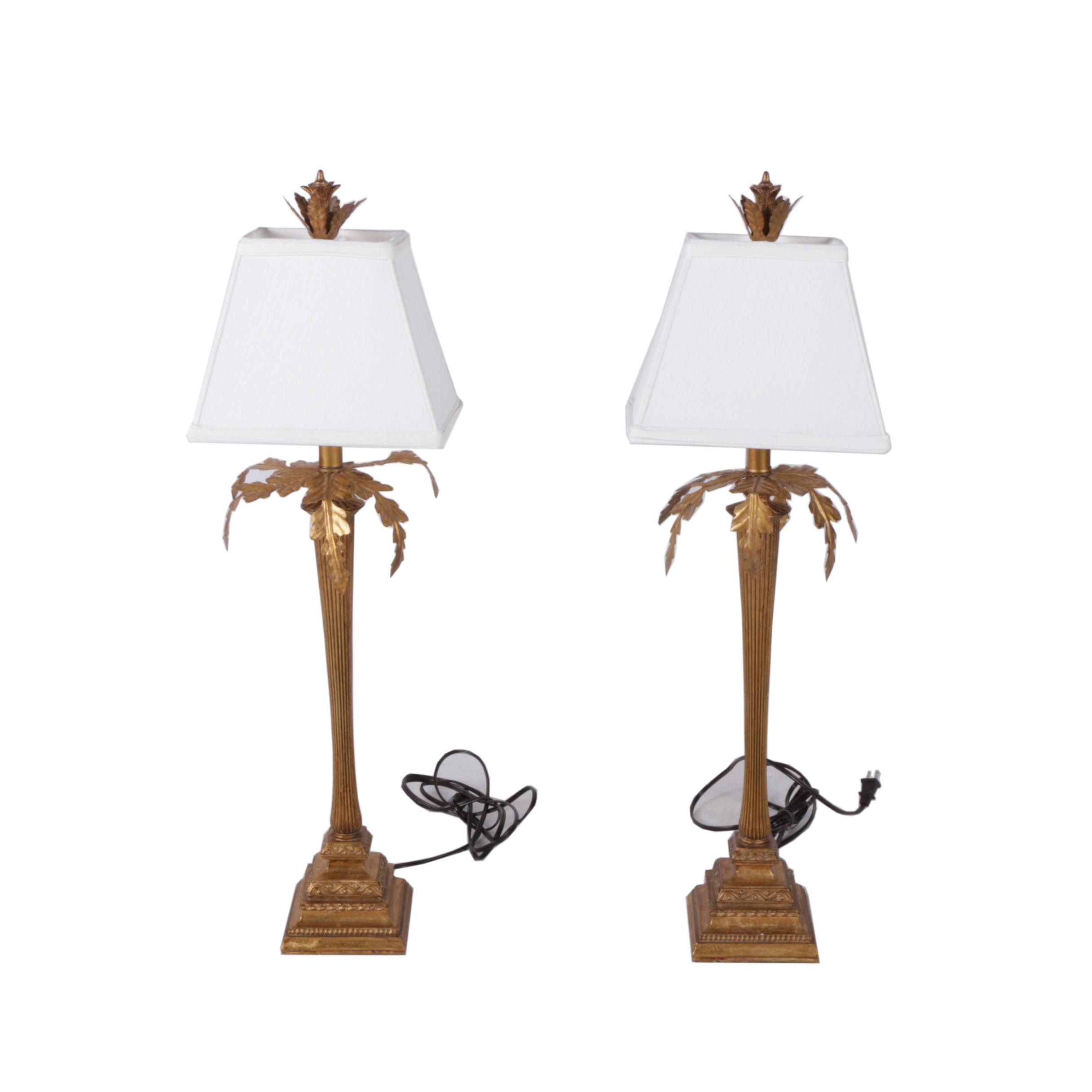 Gold Tone Palm Tree Lamps With White Fabric Shades ...