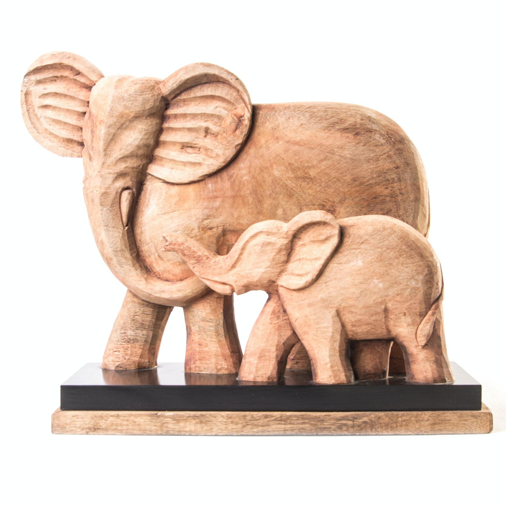 Carved Teak Elephant Sculpture