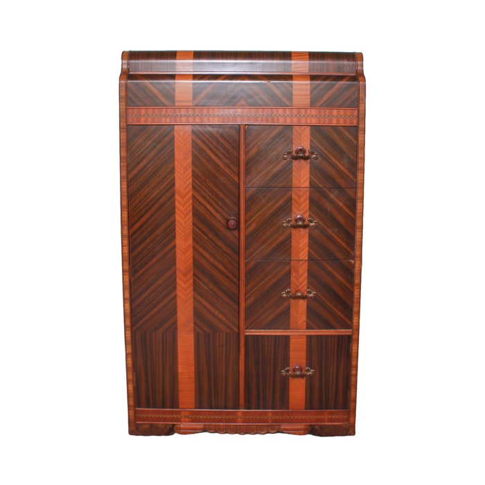 Vintage Art Deco Cedar Lined Waterfall Wardrobe