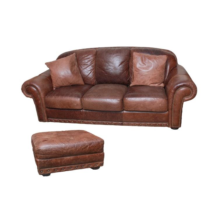 Vintage Brown Leather Sofa, Ottoman and Pillows