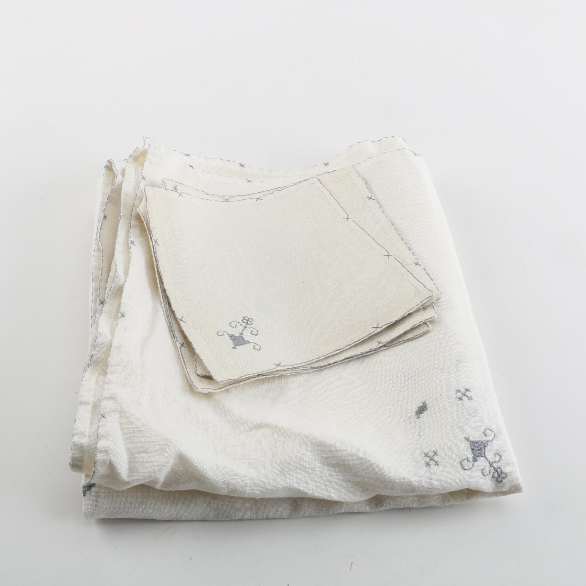Hand Embroidered Cotton Tablecloth and Matching Napkins
