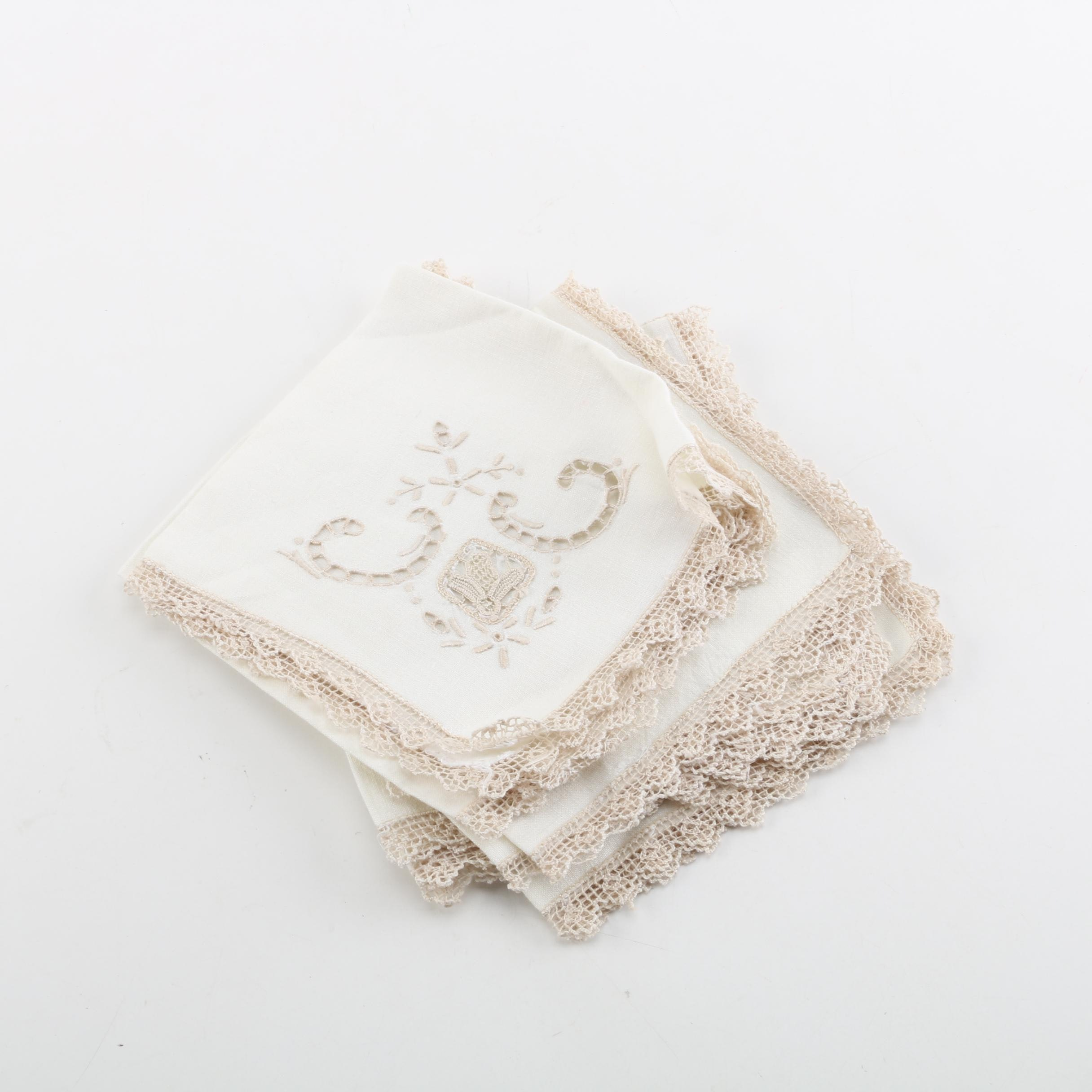 Cutwork Dinner Napkins with Crochet Lace Trim and Inserts