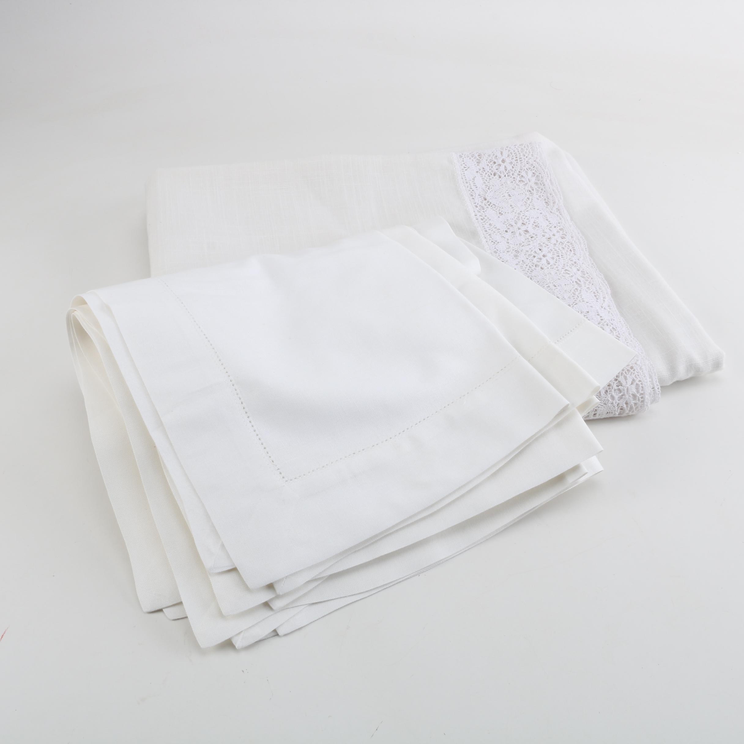 Lace Edged Linen Tablecloth and Pierced Border Napkins