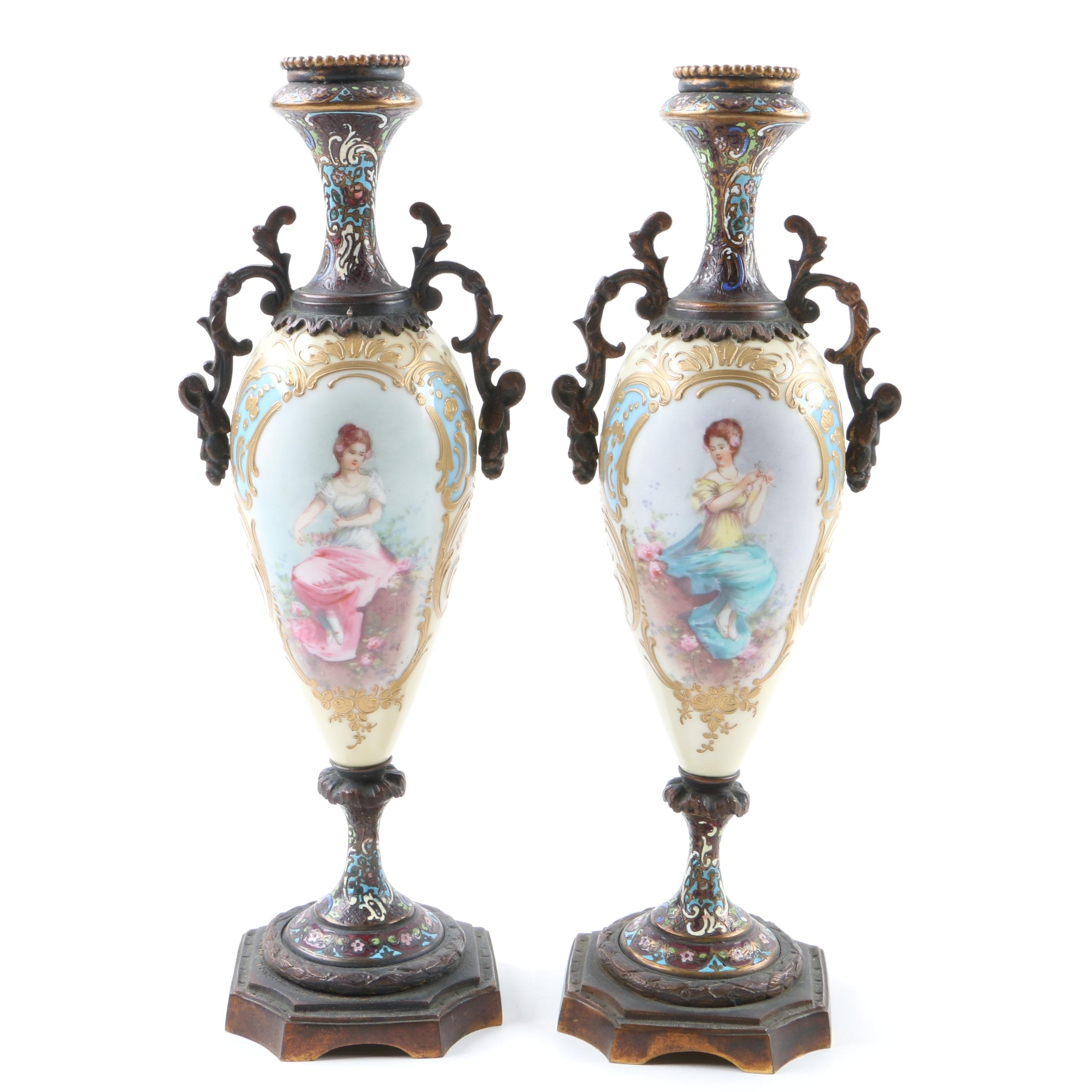 Antique French Porcelain and Champleve Enamel Urns