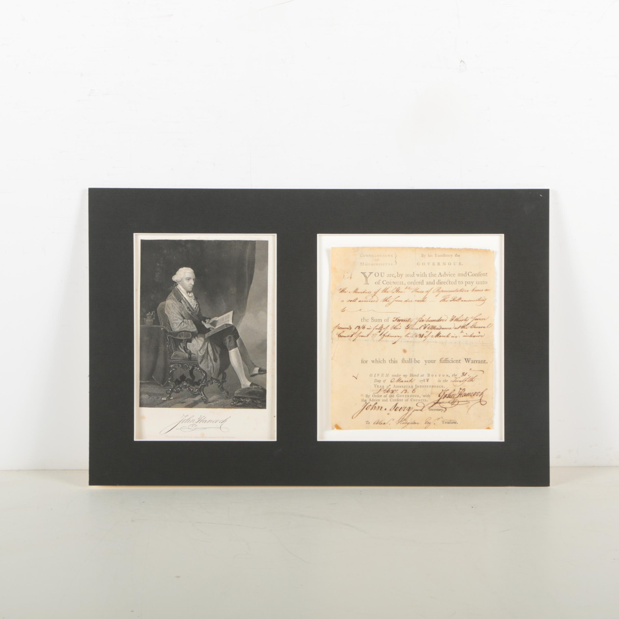 John Hancock Document Signed as Governor of Massachusetts March 31, 1788