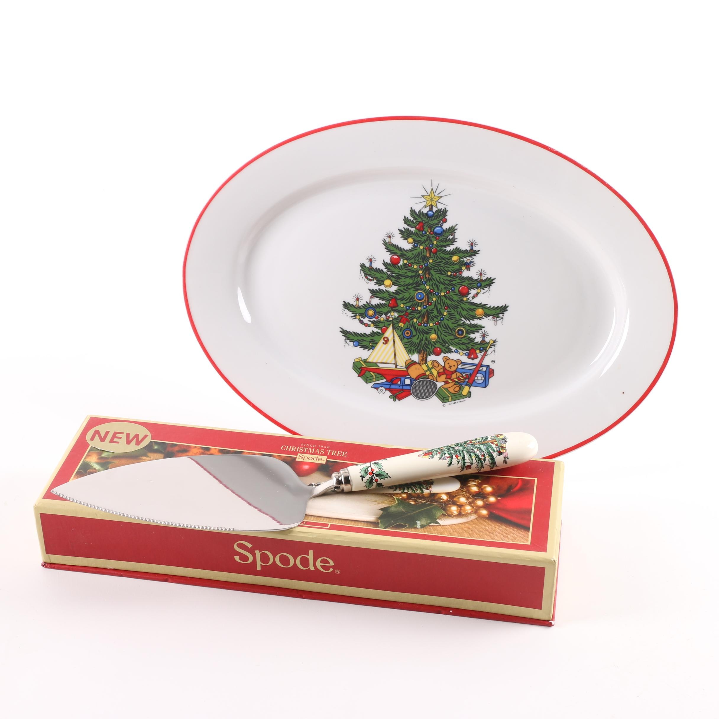 "Cuthbertson ""American Christmas Tree"" Platter with Spode ""Christmas Tree"" Server"