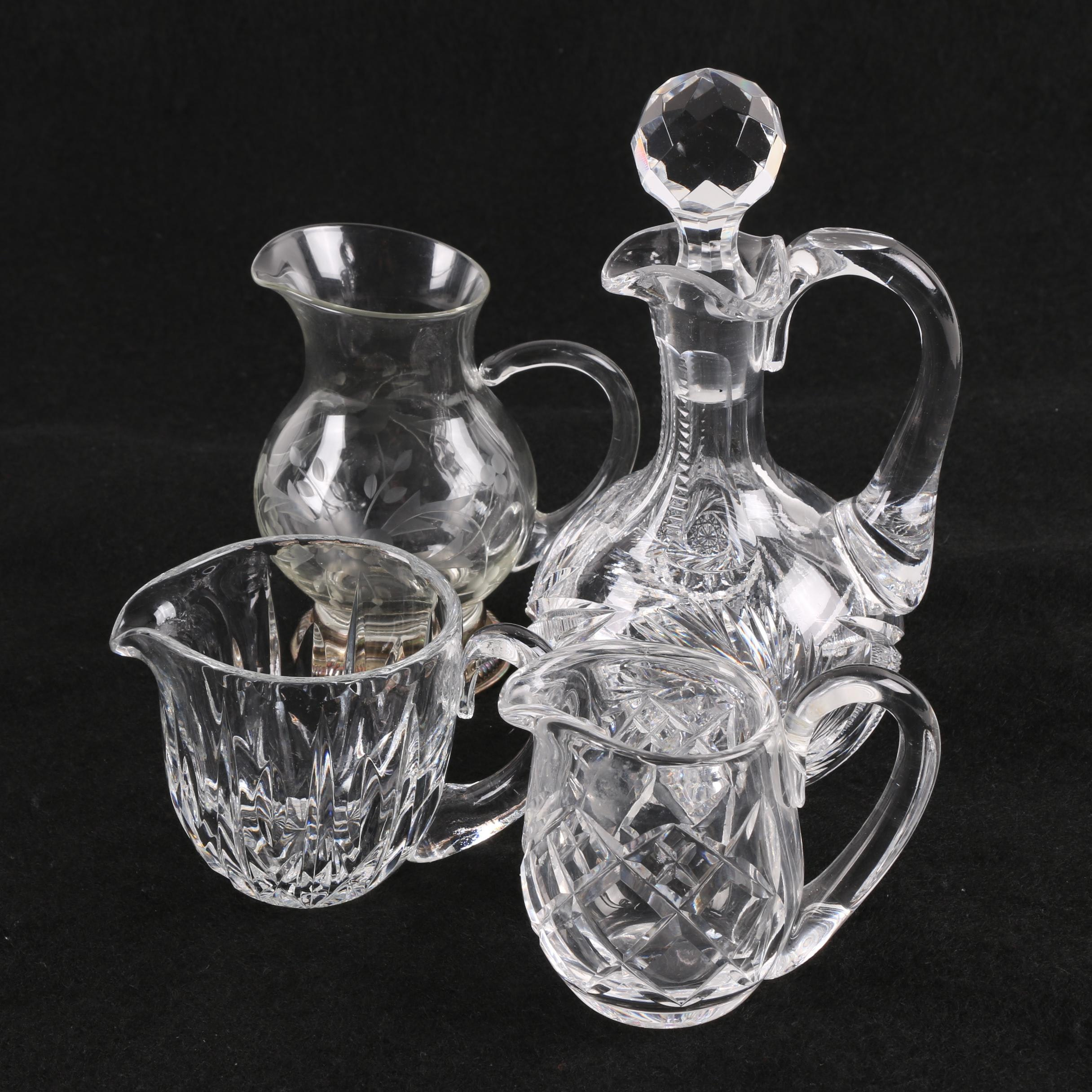 Waterford Crystal and Glass Creamers and American Brilliant Cut Cruet