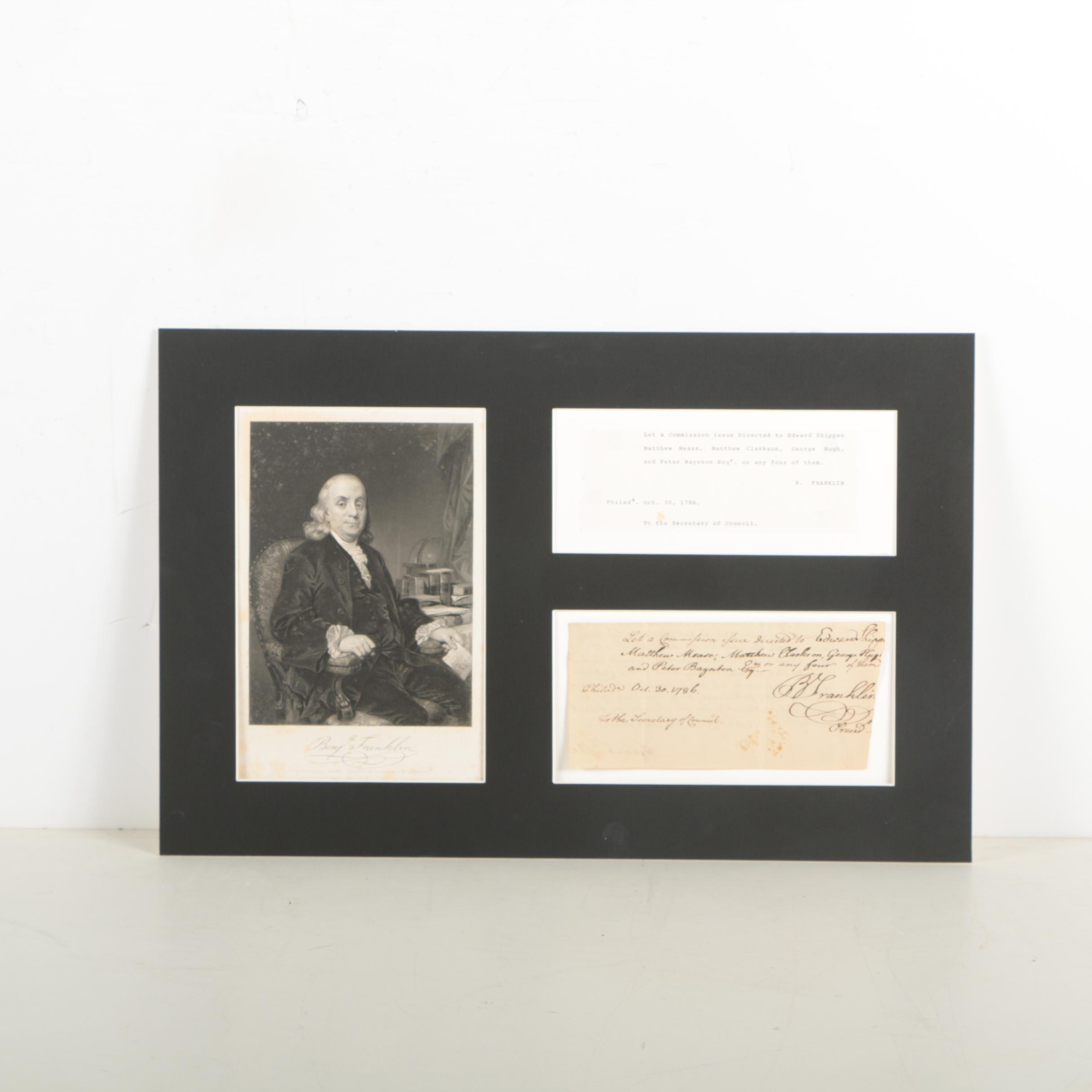 Benjamin Franklin Autograph Letter Signed October 30, 1786