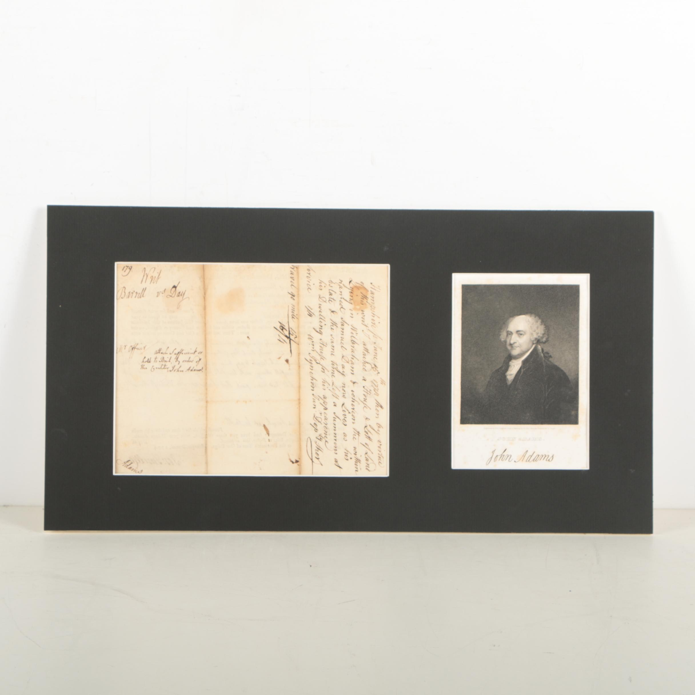 "John Adams Autograph Note Signed ""Writ-of-Attachment"""