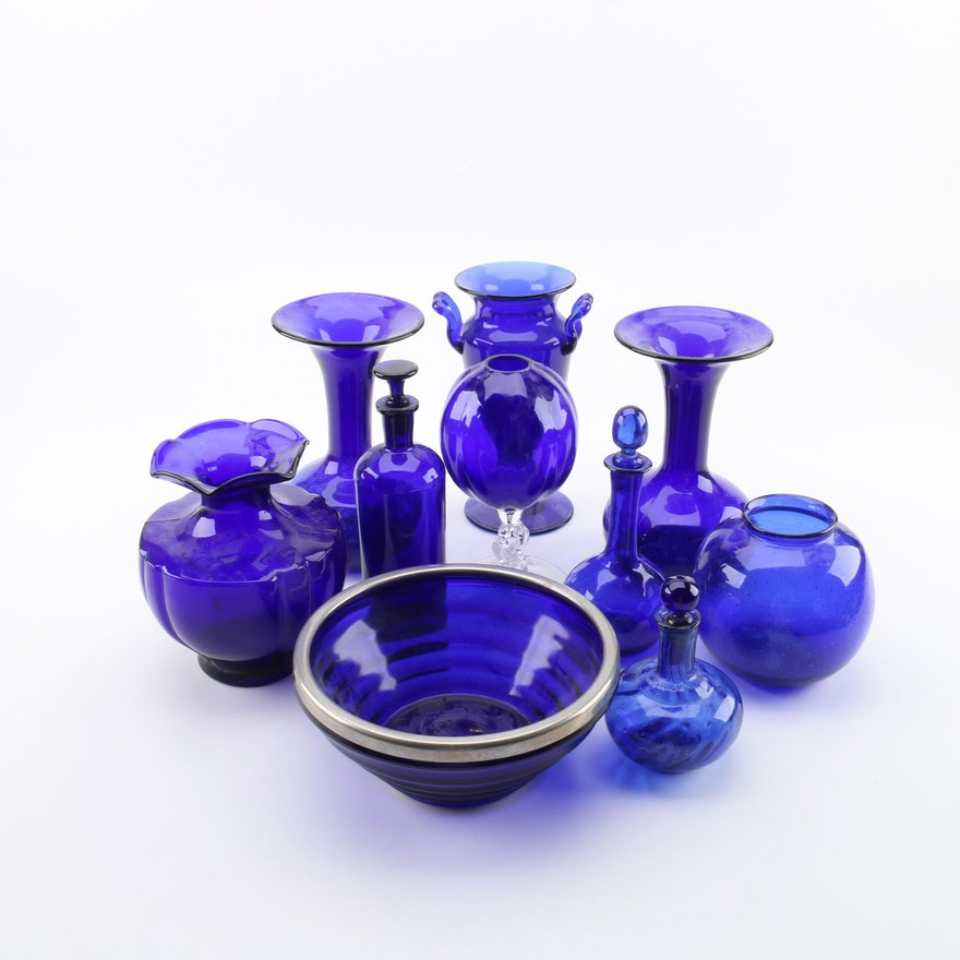 Cobalt Glass Vases Decanters And Bowls Including Cambridge Ebth