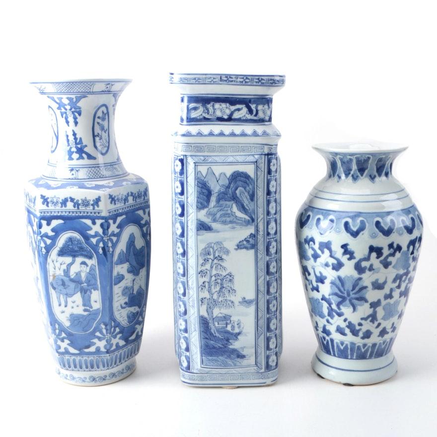 Blue And White Chinese Ceramic Vases Ebth