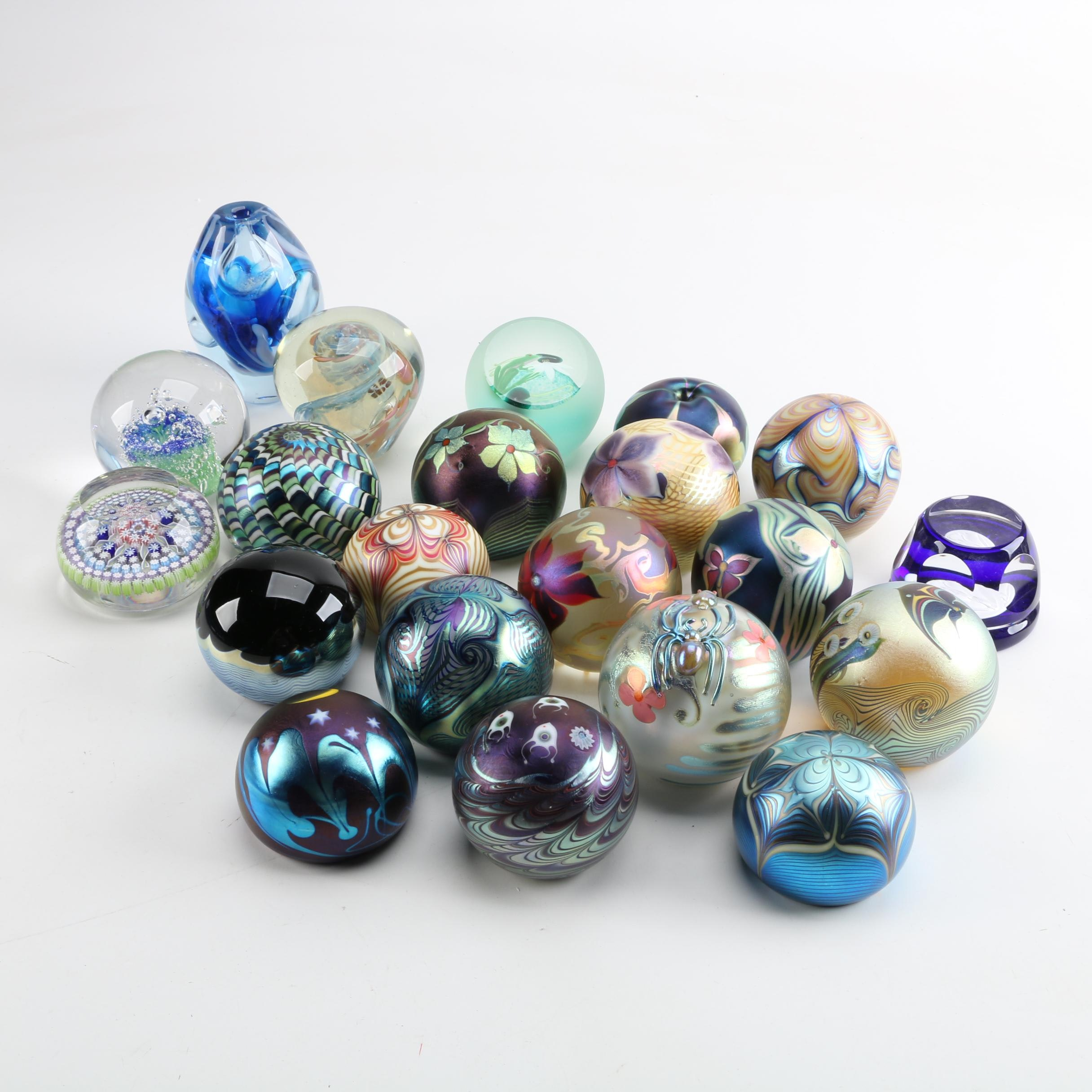 Collection of Art Glass Paperweights Including Orient & Flume
