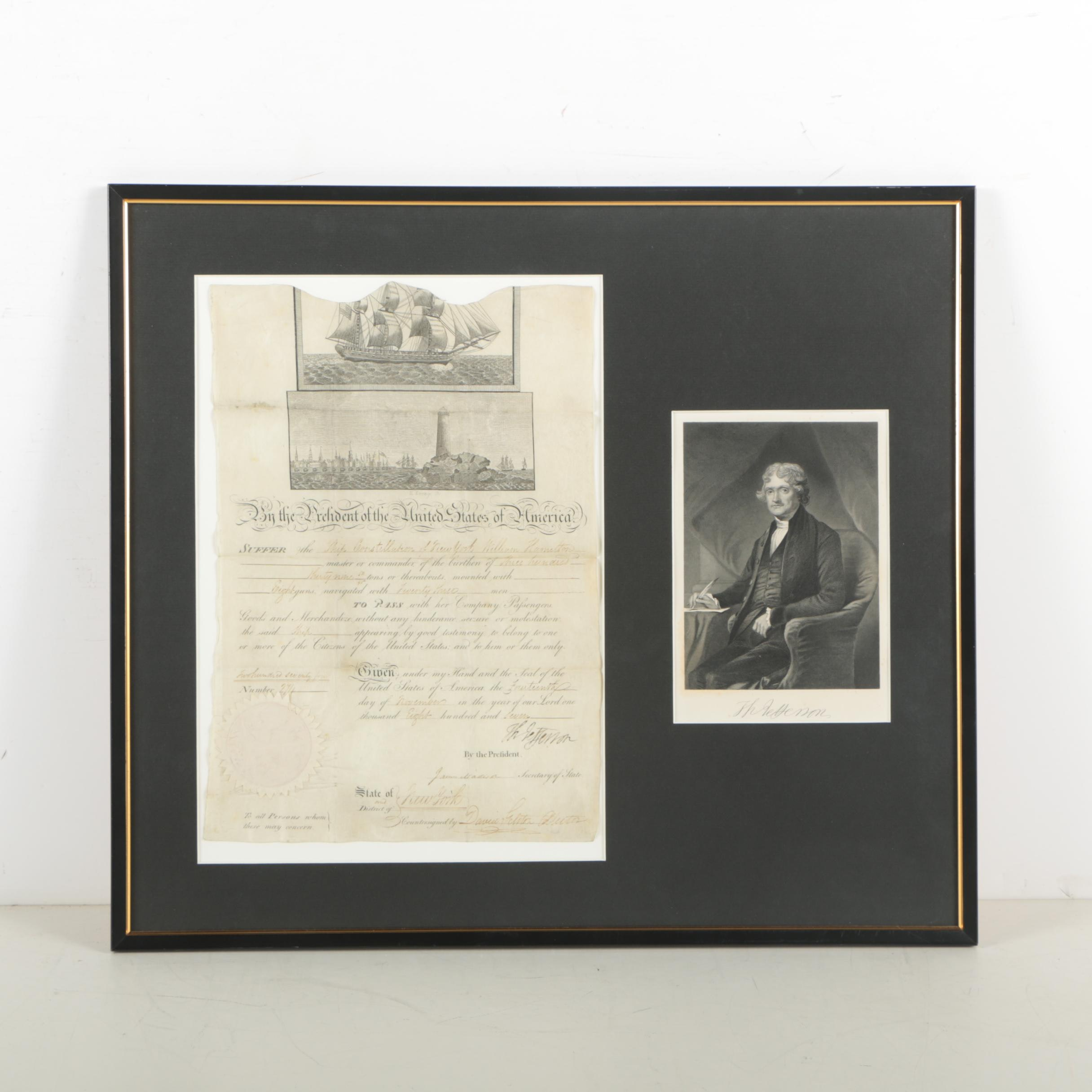 "Thomas Jefferson Constellation ""Ship's Papers"" Signed as President"