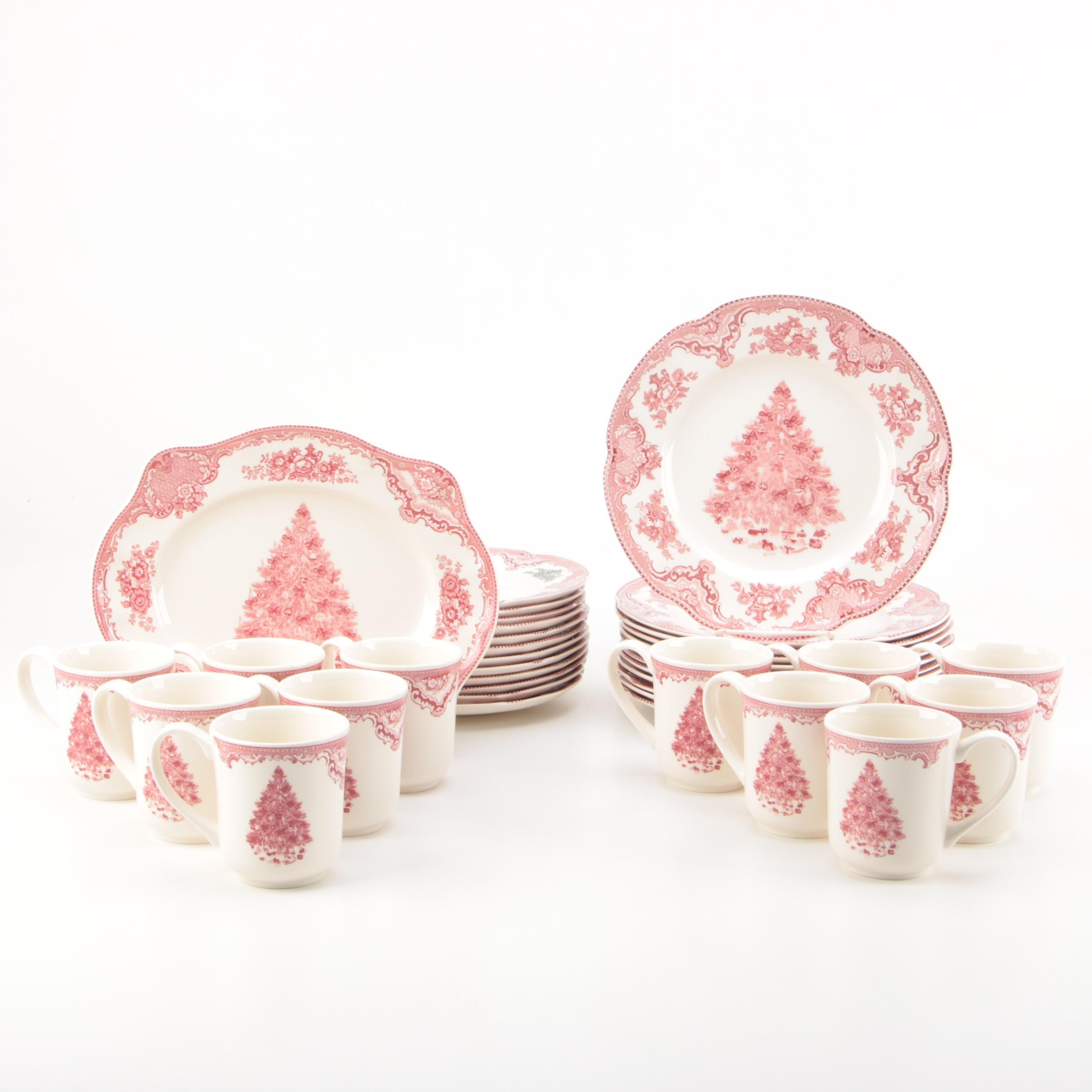 "Johnson Brothers ""Christmas Old Britain Castles Pink"" Dinnerware"
