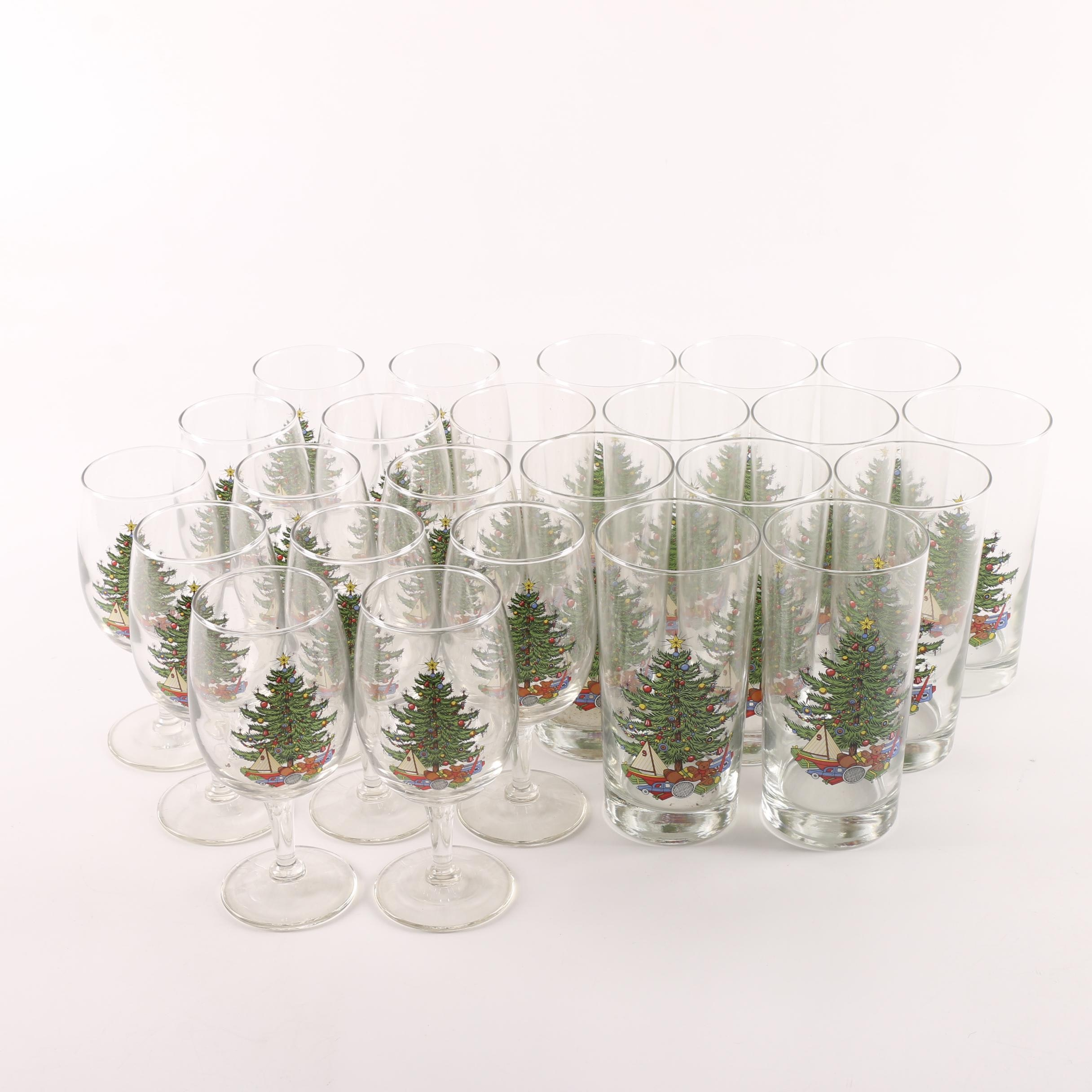 "Cuthbertson ""Christmas Tree"" Wine Goblets and Tumblers"
