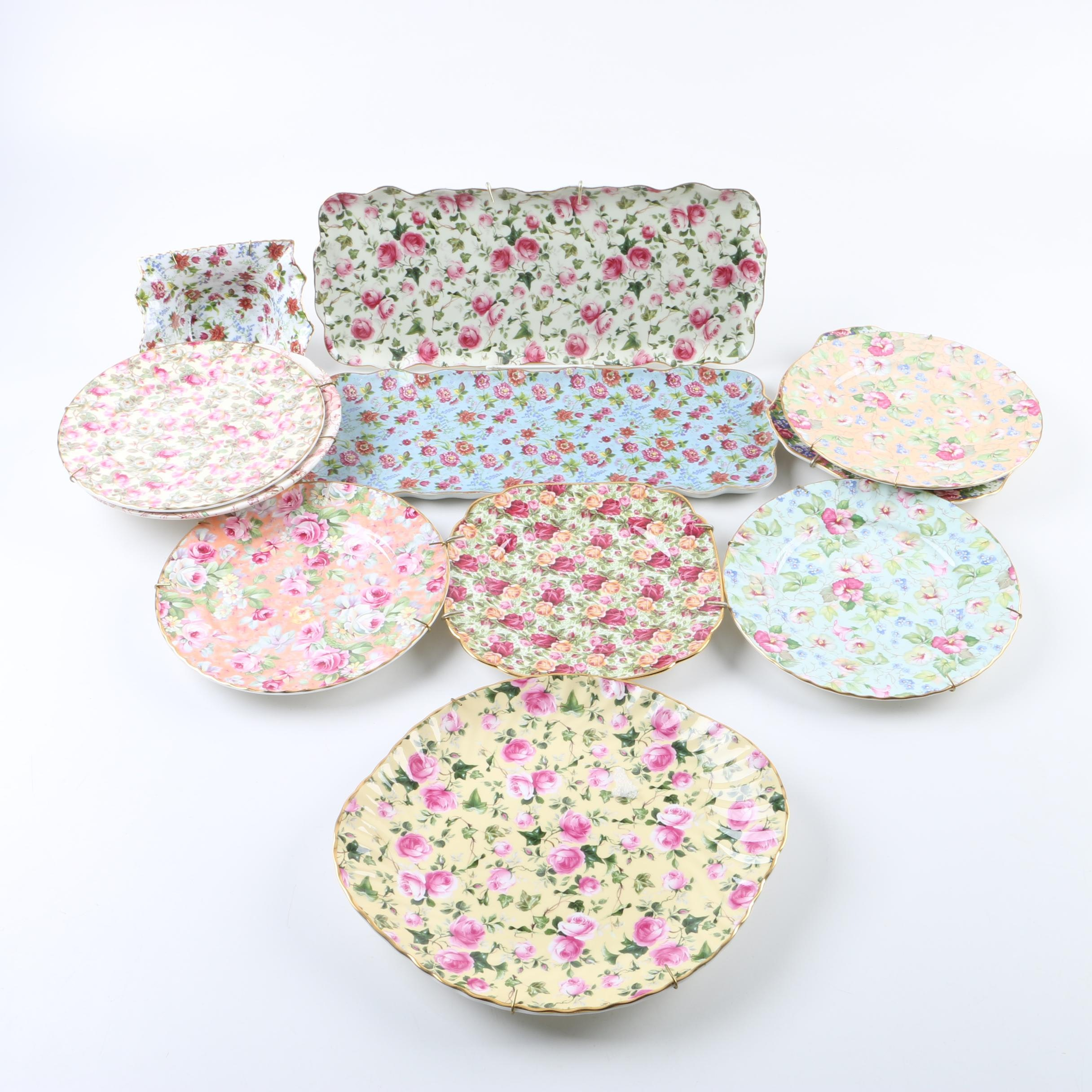 Collection of Floral Chintz Ceramic Serveware including Royal Winton