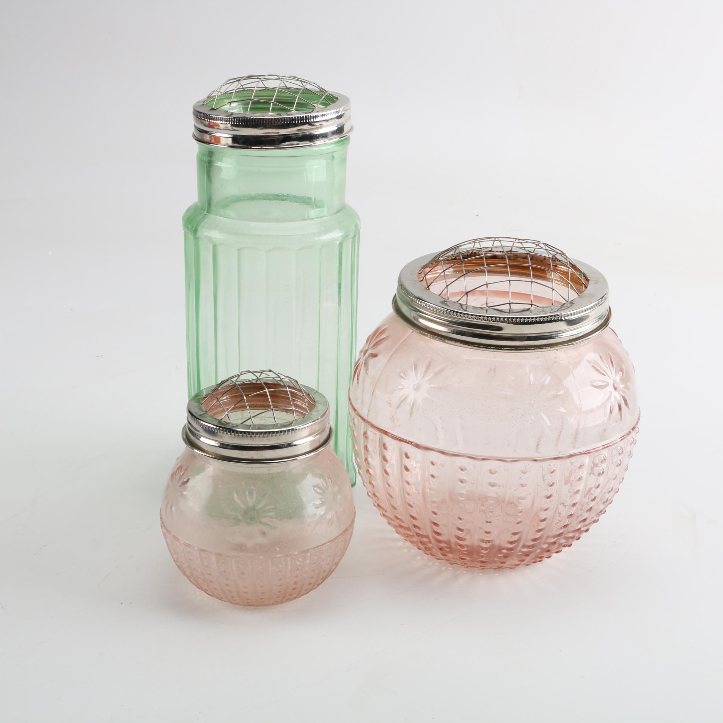 Vintage Pressed Glass Pastel Vases with Flower Frog Lids