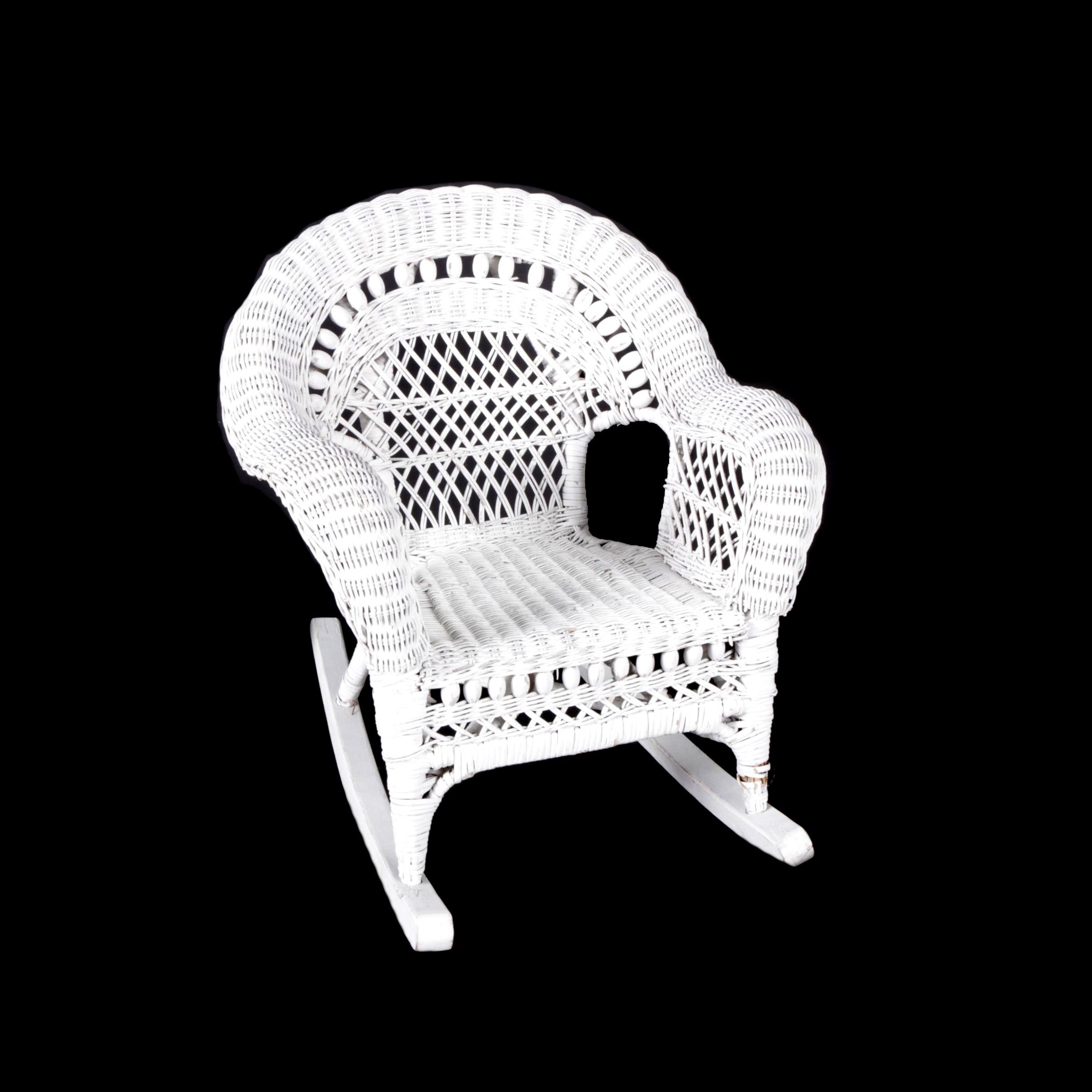 Child's White Wicker Rocking Chair