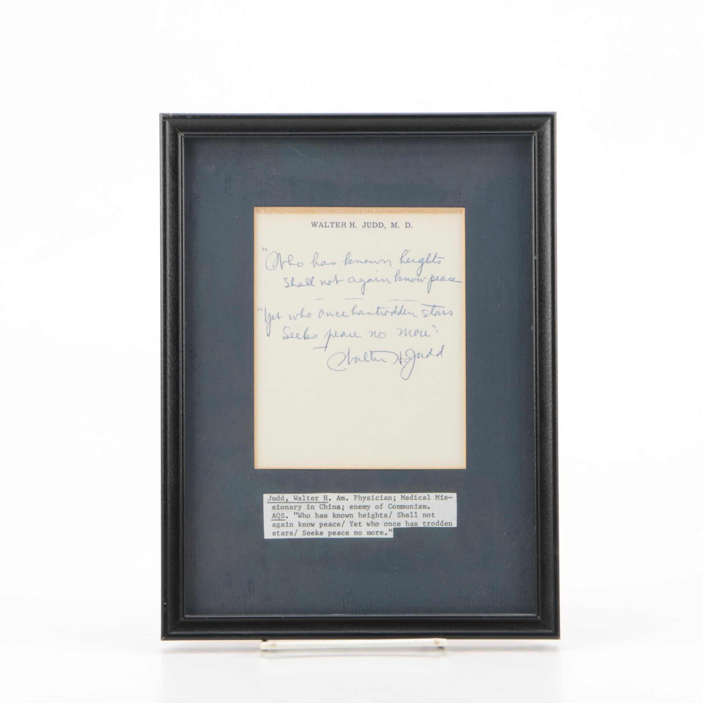 Note Signed By Walter H. Judd American Politician, Physician, Chinese Missionary