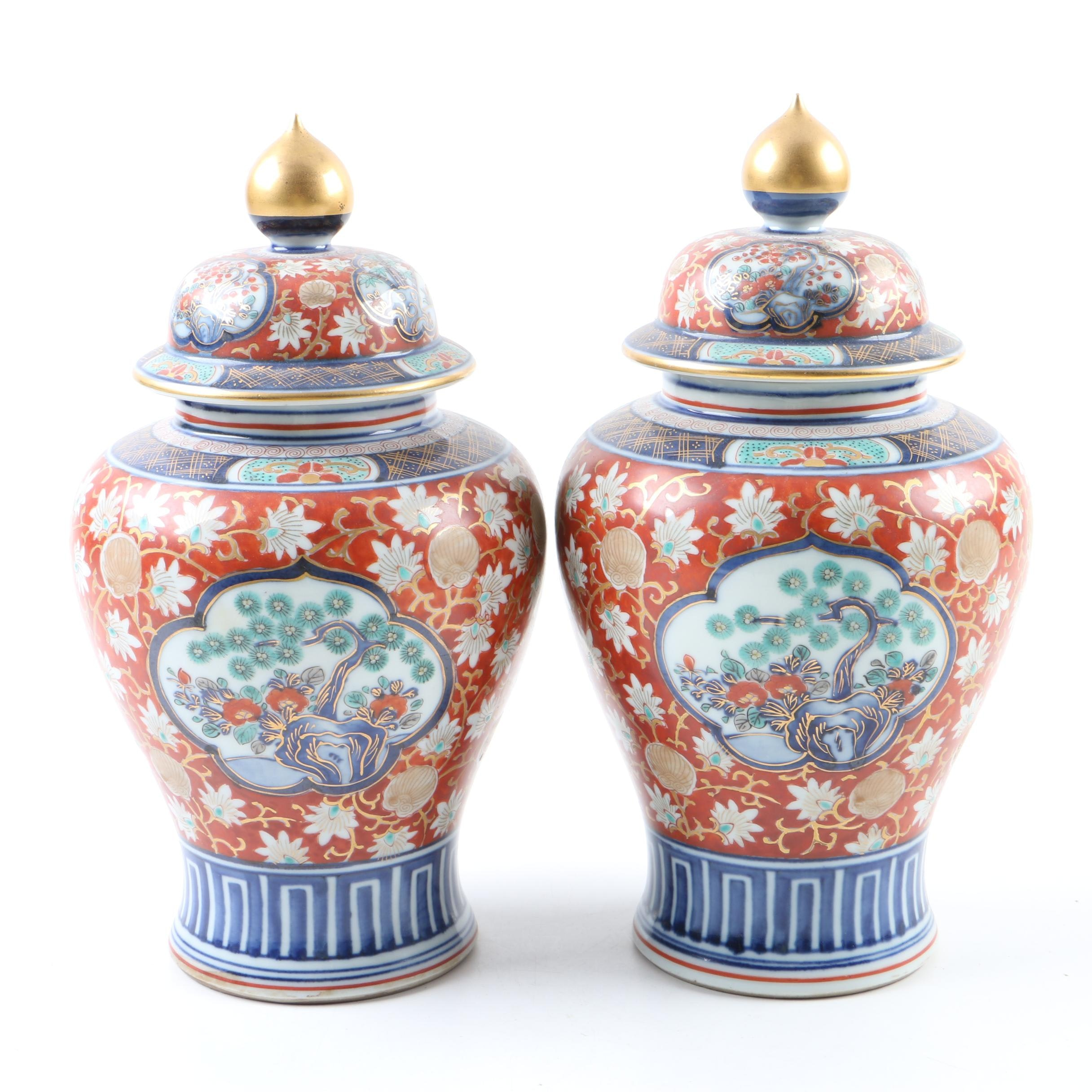 Pair of Chinese Ceramic Urns