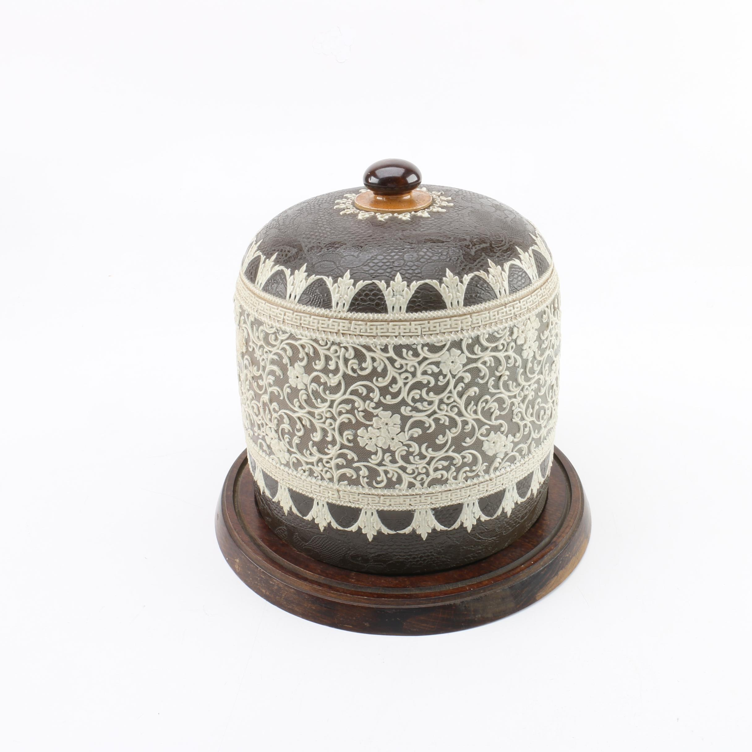 Antique Doulton Lambeth Stilton or Cheese Dome with Wood Base