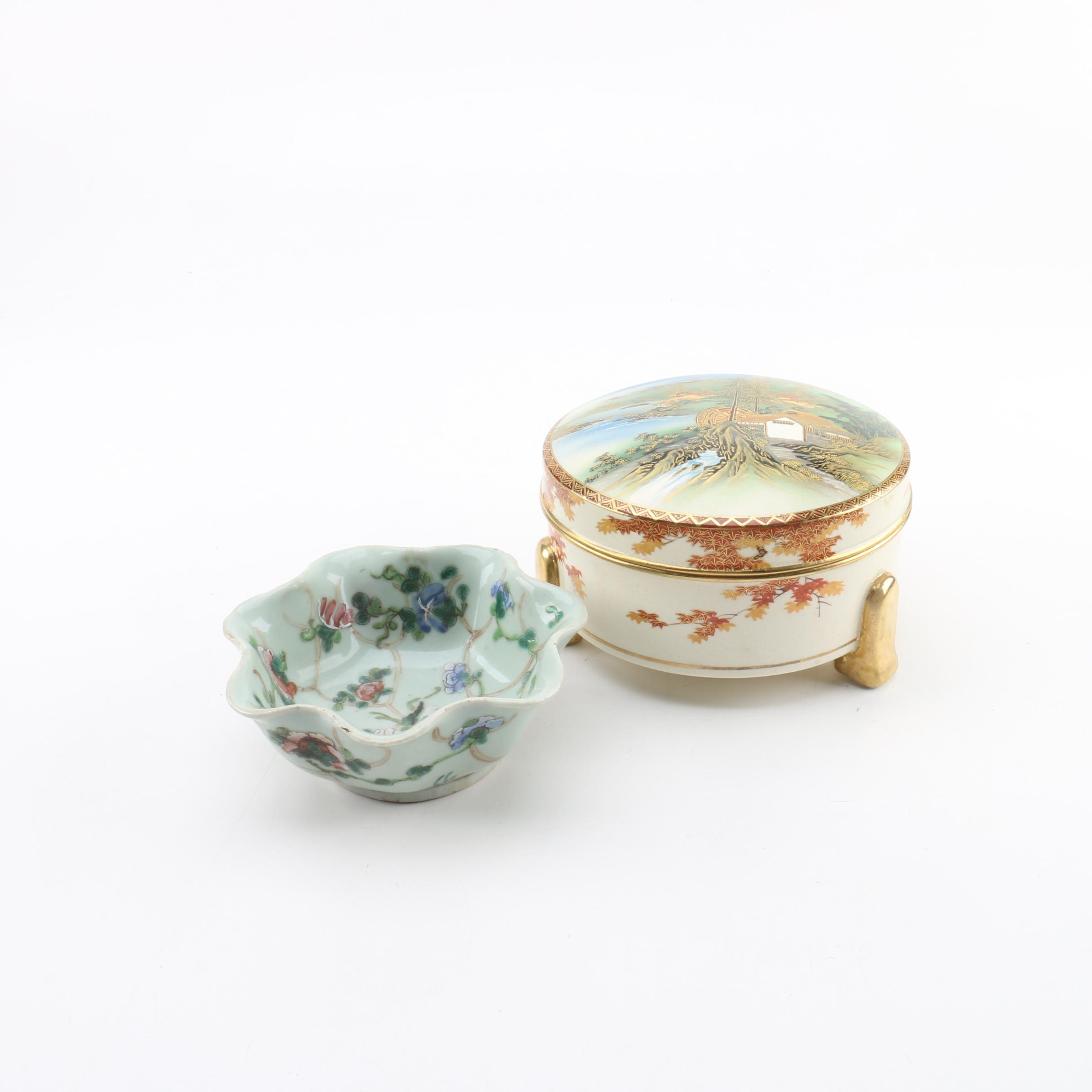 Japanese Satsuma Trinket Box and Chinese Floral Bowl