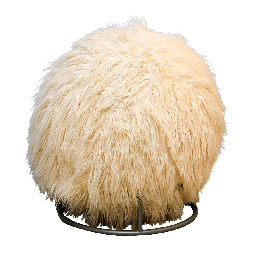 Joss Main Lamb Faux Fur Yoga Ball Chair