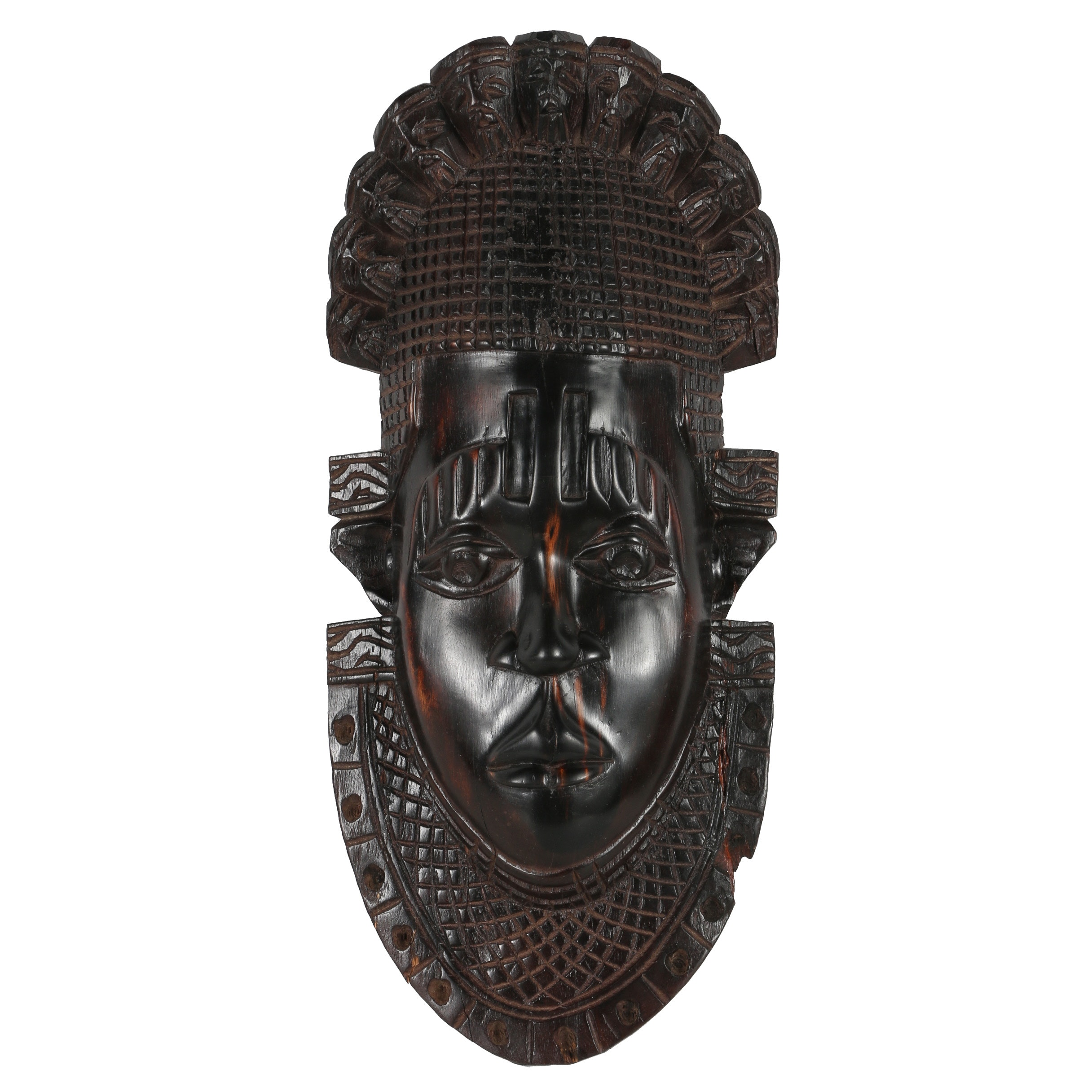 Nigerian Benin Style Carved Wood Mask