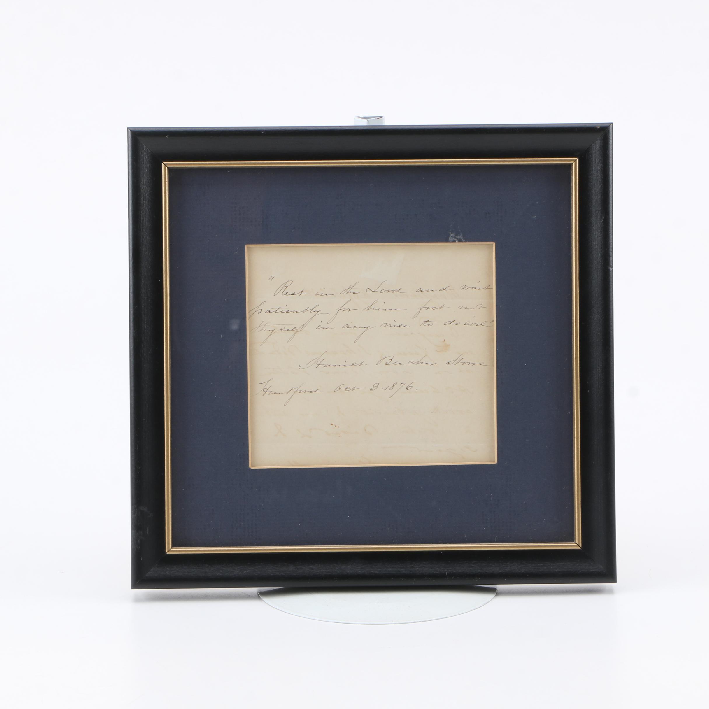 Harriet Beecher Stowe Autograph Note Signed 1876
