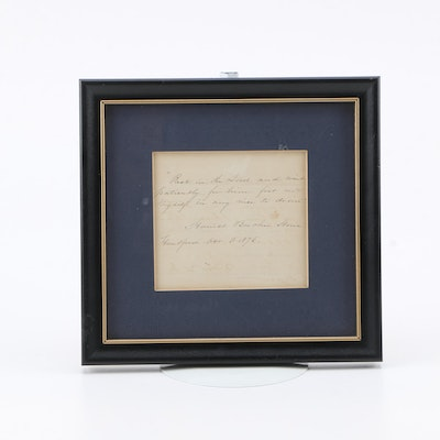 Harriet Beecher Stowe Autograph Note Signed 1876