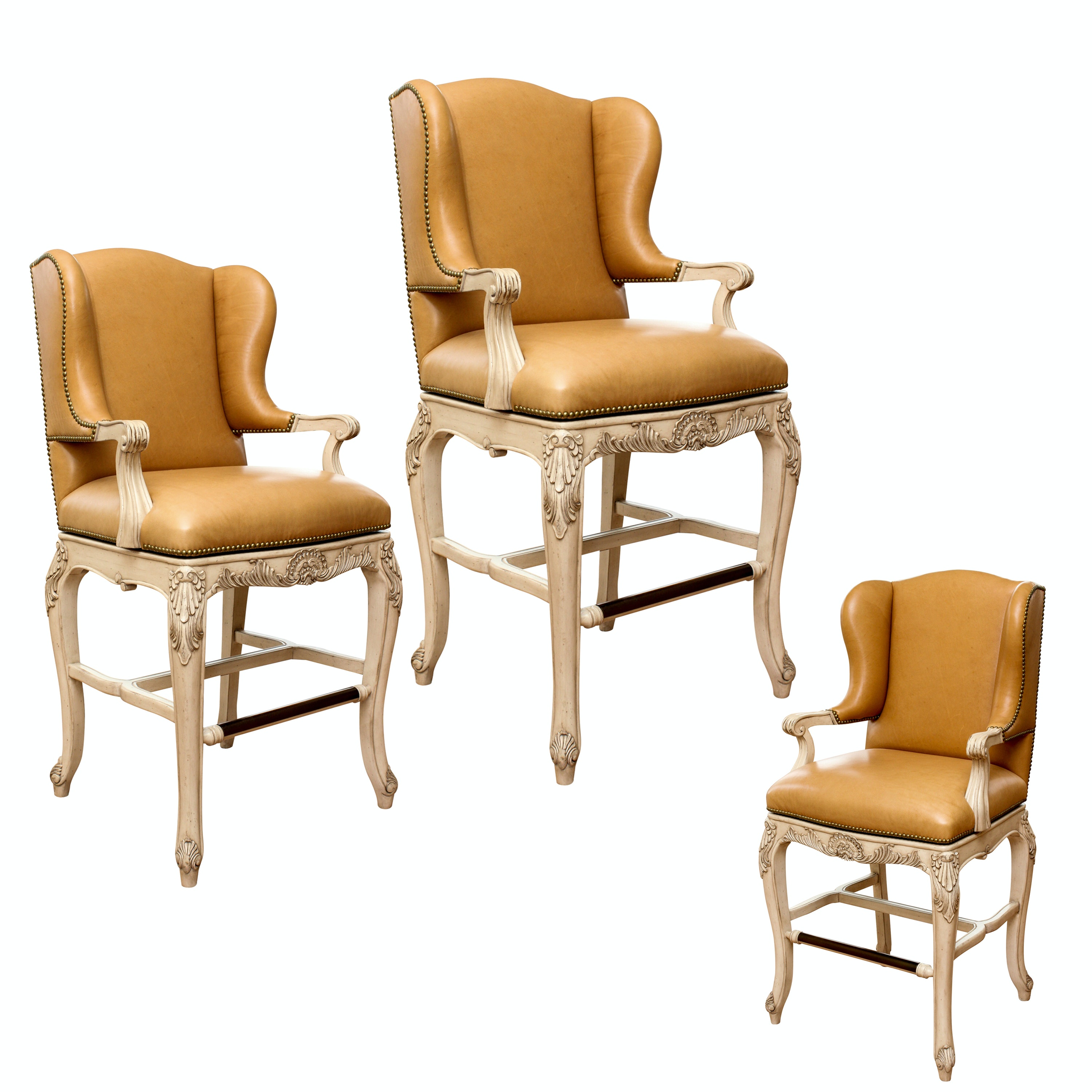 Frontgate French Provincial Style Leather Swivel Bar Chairs ...