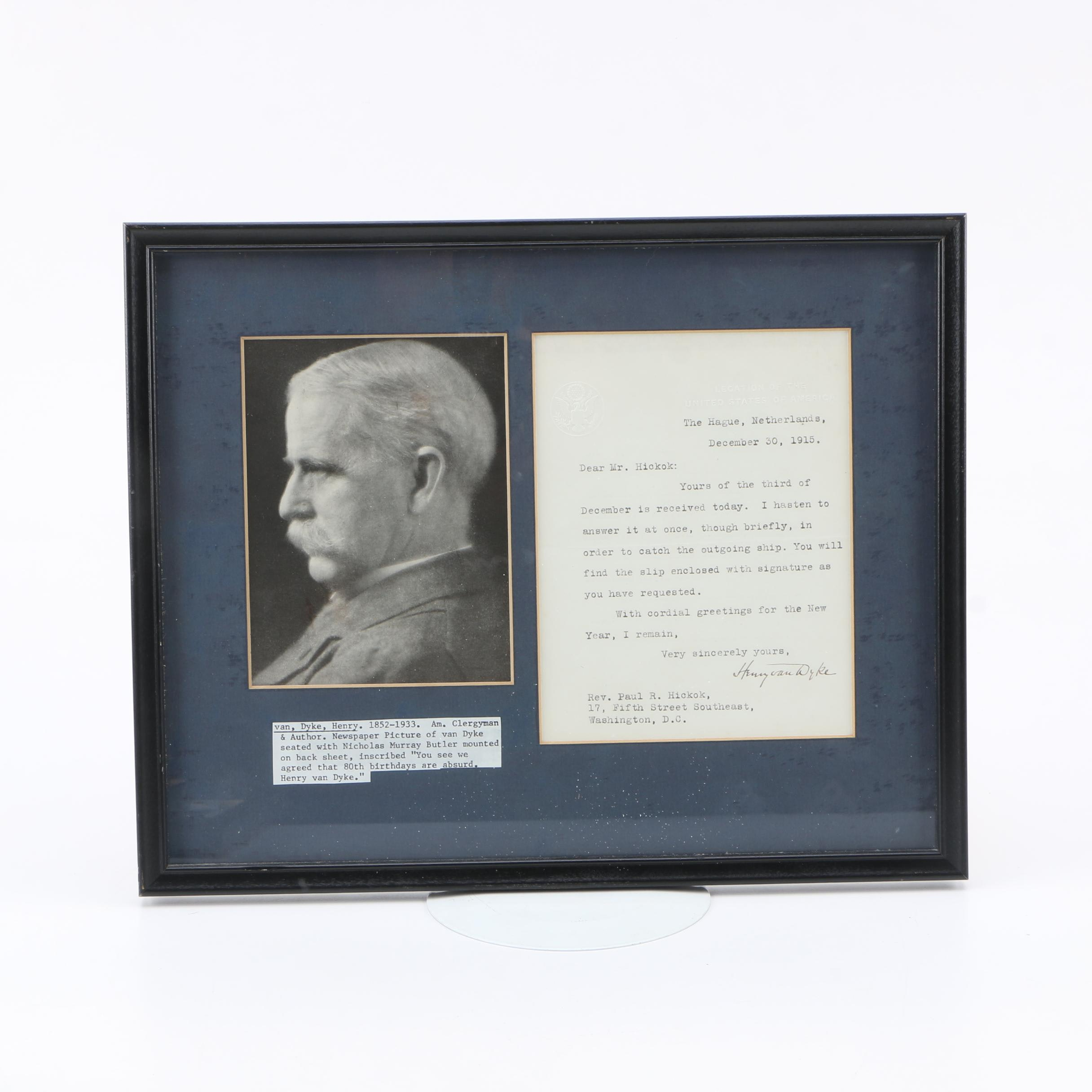 Henry van Dyke Typed Letter Signed December 30, 1915