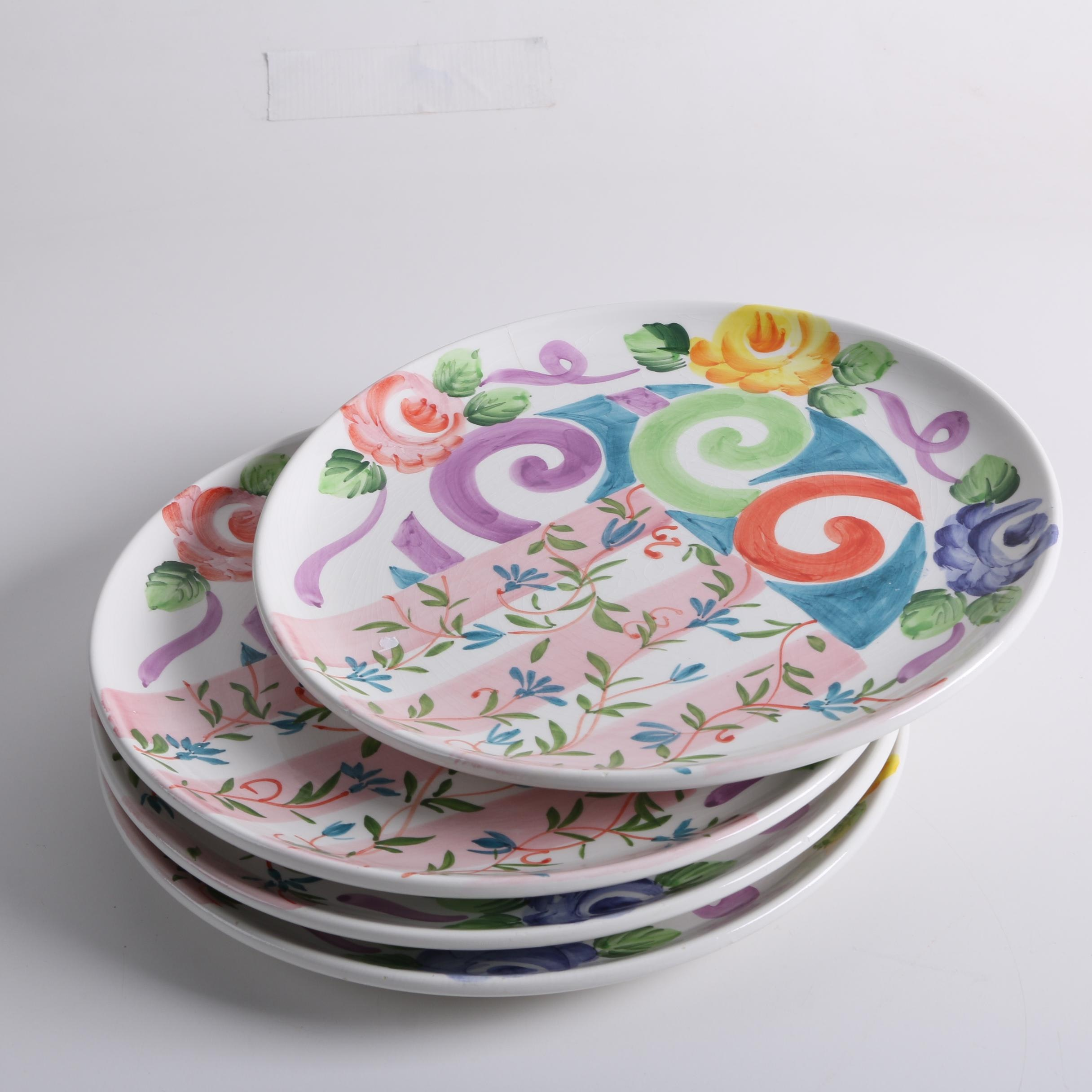 Colorful Hand-Painted Italian Dinner Plates ... : italian dinner plates ceramic - pezcame.com