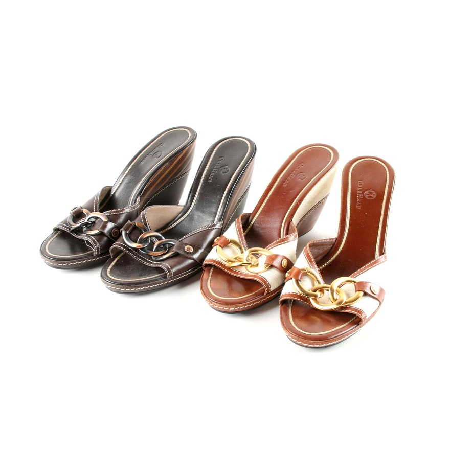 97b38274e37c Women s Cole Haan Leather Wedge Slide Sandals   EBTH