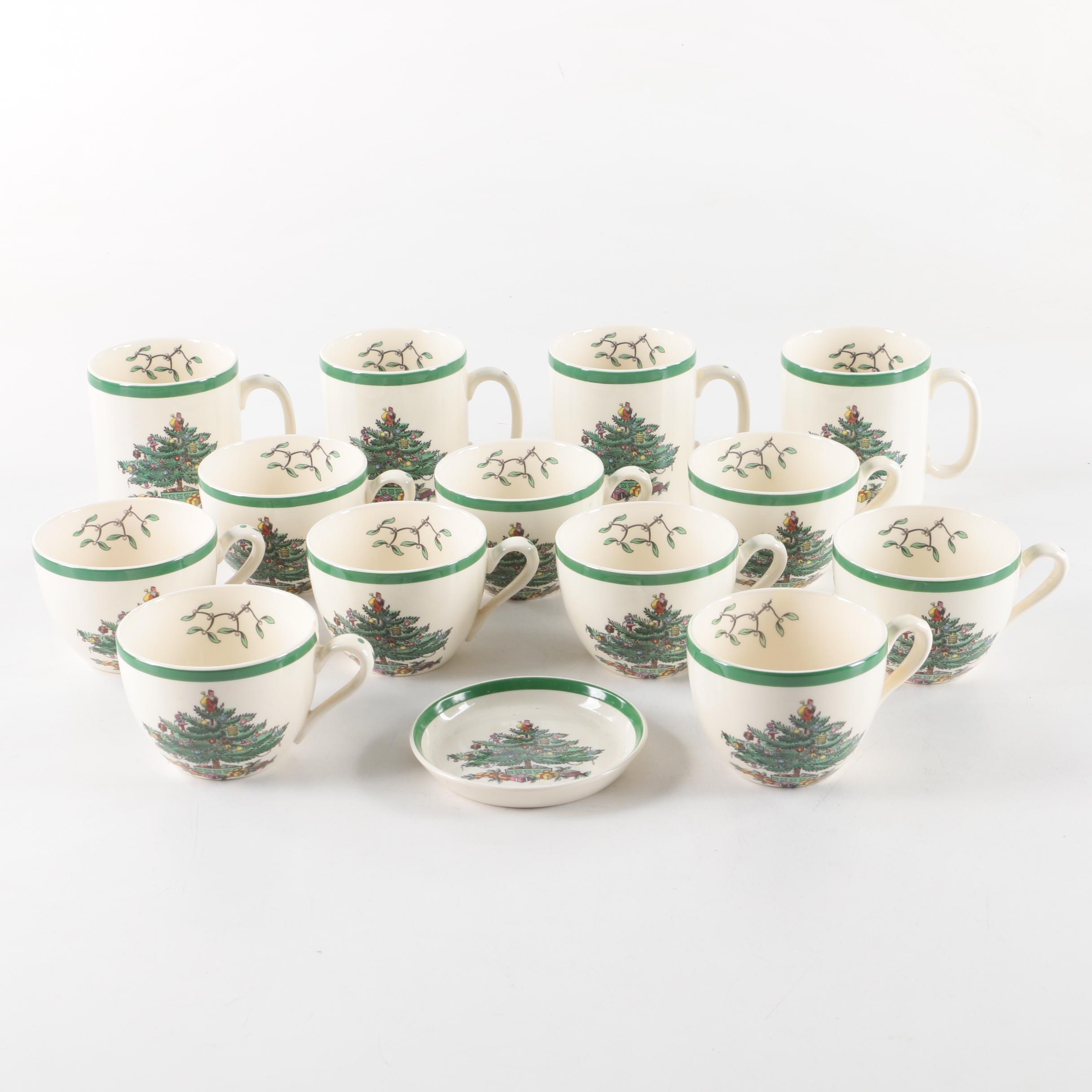 """Spode """"Christmas Tree"""" Teacups, Mugs and Sauce Dish"""