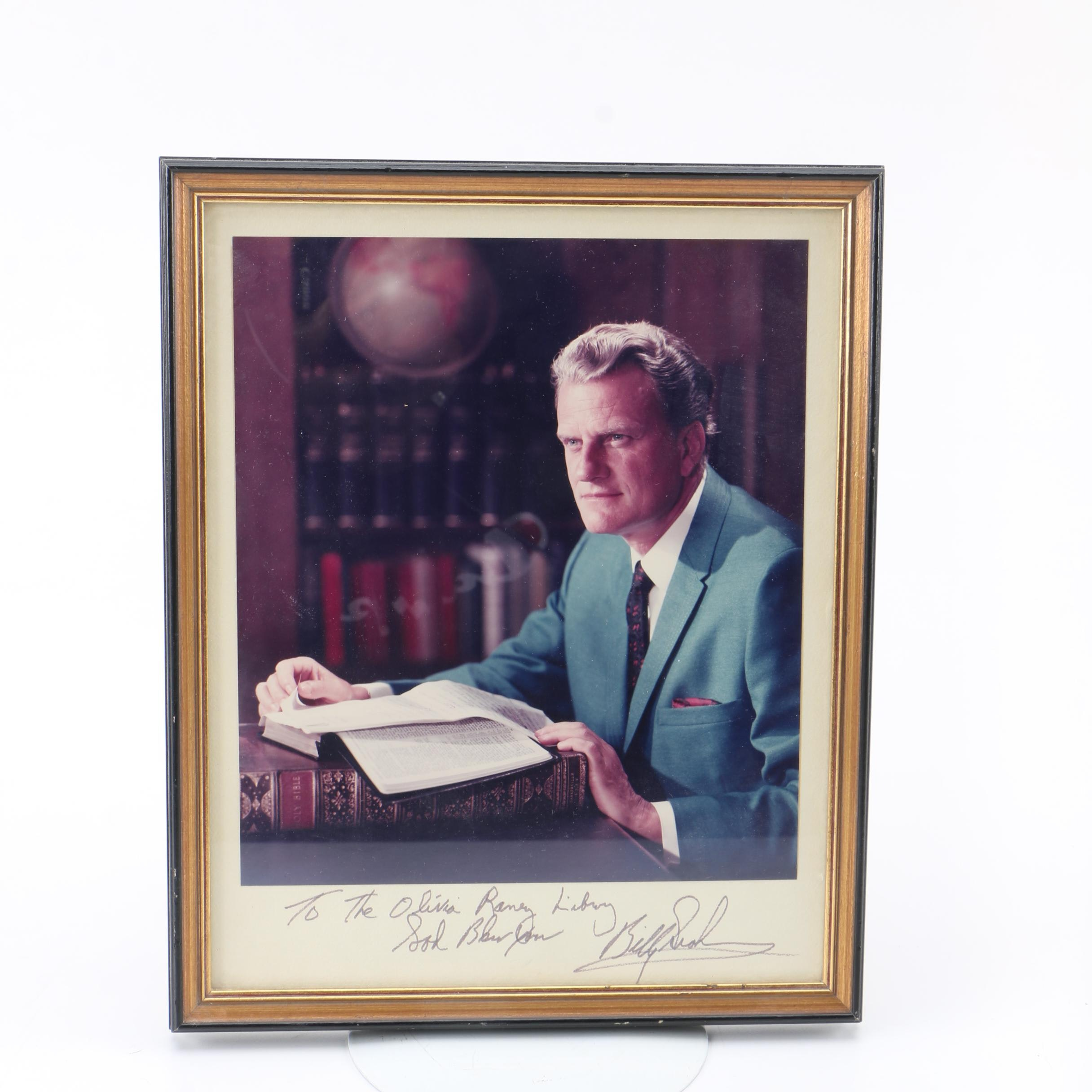 Reverend Billy Graham Signed Color Photograph