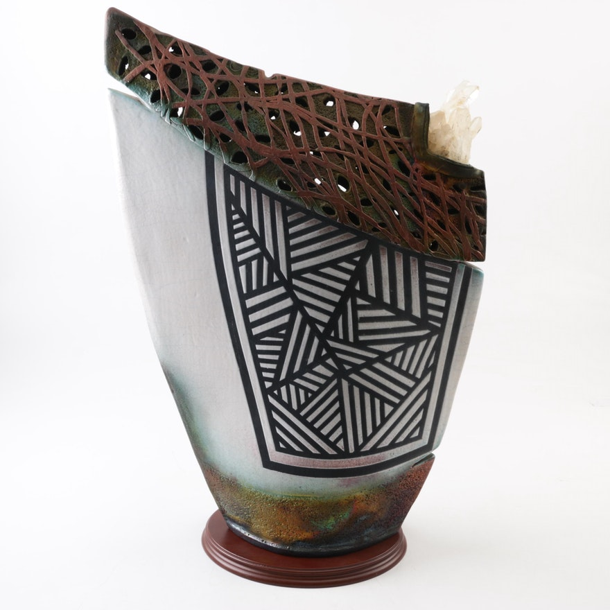 Handbuilt Raku Fired Pocket Vase With Flower Frog Ebth
