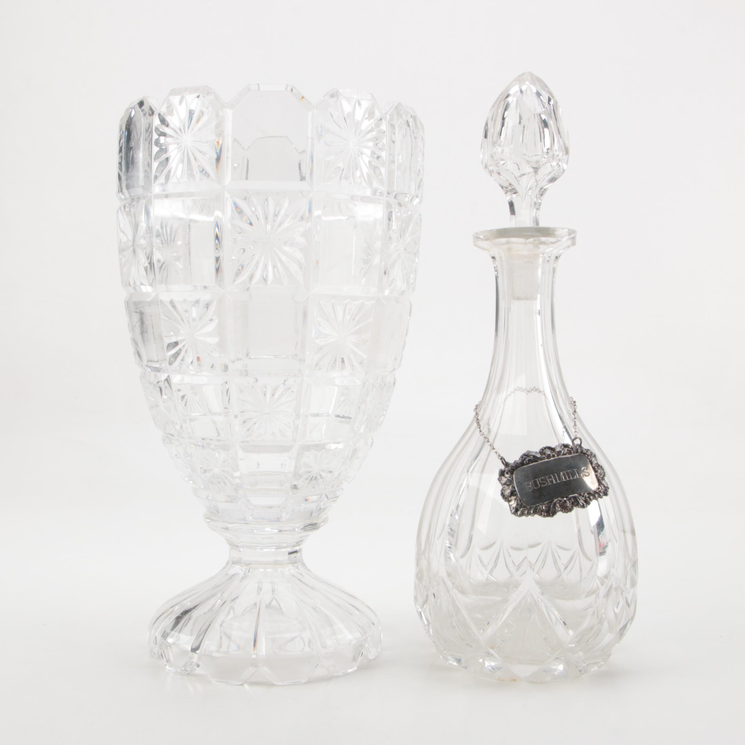 Crystal Decanter with Silver Plated Tag and Footed Vase