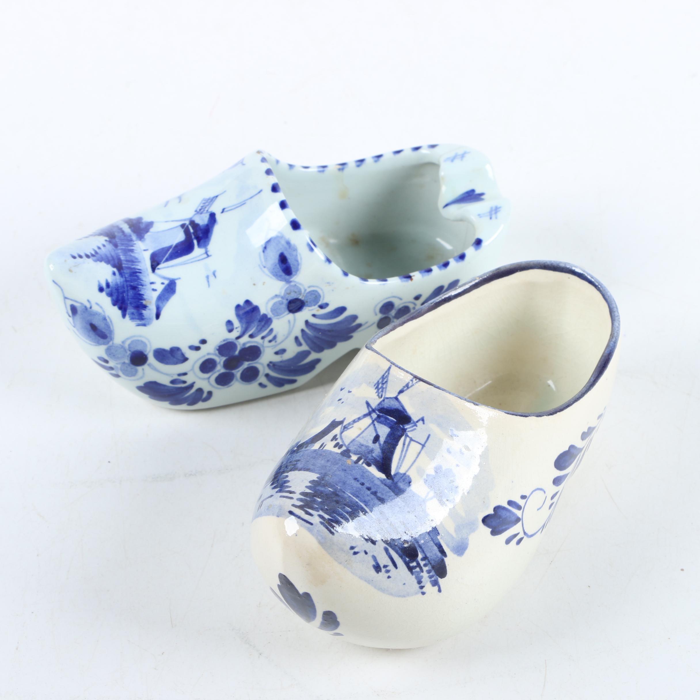 Hand-Painted Delft Porcelain Clog Figurines