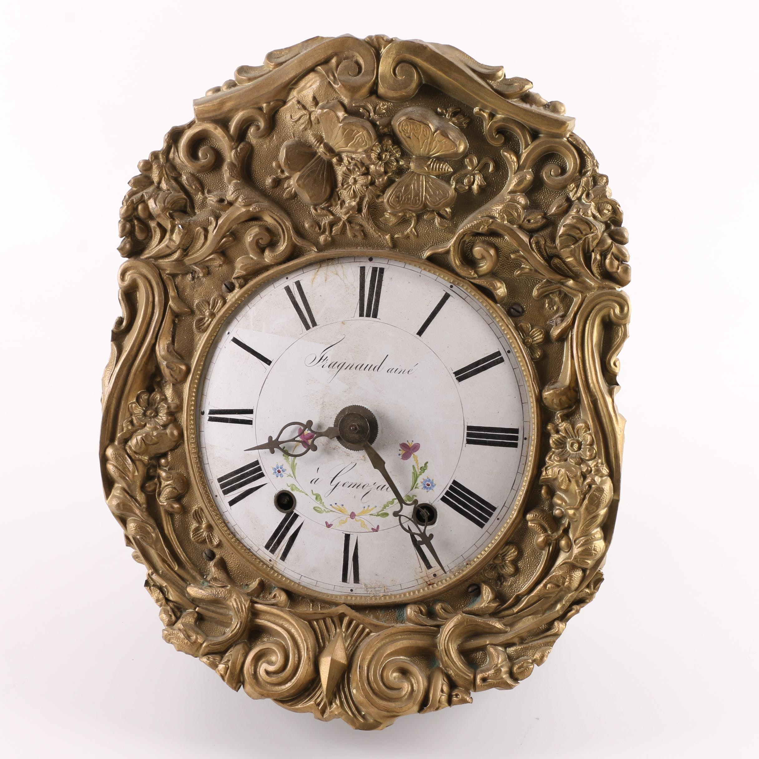 French Embossed Metal Wall Clock