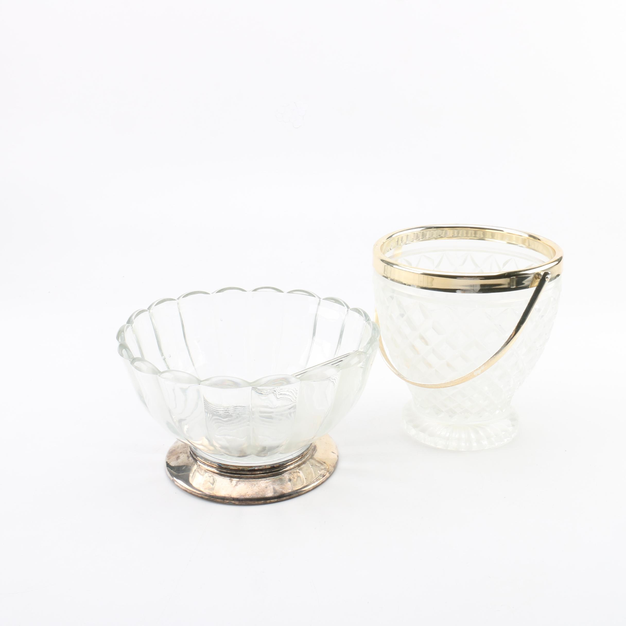 English Silver Plate and Glass Bowl with Glass and Metal Ice Bucket